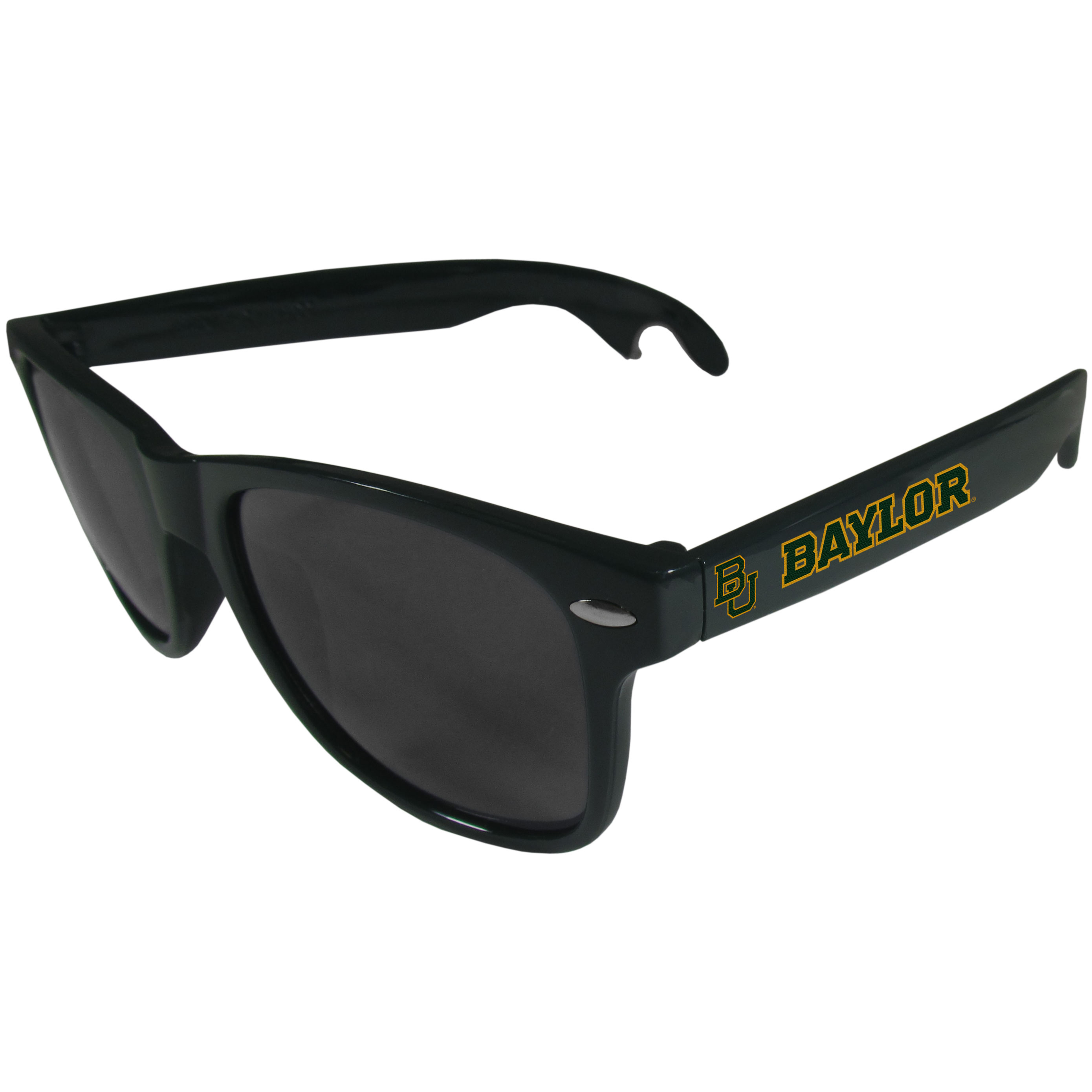Baylor Bears Beachfarer Bottle Opener Sunglasses, Dark Green - Seriously, these sunglasses open bottles! Keep the party going with these amazing Baylor Bears bottle opener sunglasses. The stylish retro frames feature team designs on the arms and functional bottle openers on the end of the arms. Whether you are at the beach or having a backyard BBQ on game day, these shades will keep your eyes protected with 100% UVA/UVB protection and keep you hydrated with the handy bottle opener arms.