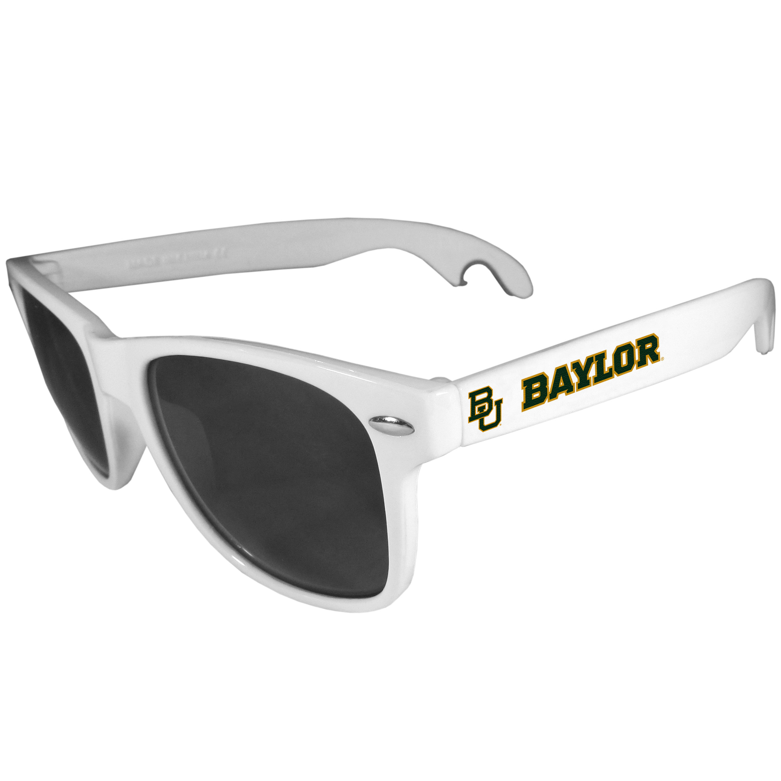 Baylor Bears Beachfarer Bottle Opener Sunglasses, White - Seriously, these sunglasses open bottles! Keep the party going with these amazing Baylor Bears bottle opener sunglasses. The stylish retro frames feature team designs on the arms and functional bottle openers on the end of the arms. Whether you are at the beach or having a backyard BBQ on game day, these shades will keep your eyes protected with 100% UVA/UVB protection and keep you hydrated with the handy bottle opener arms.