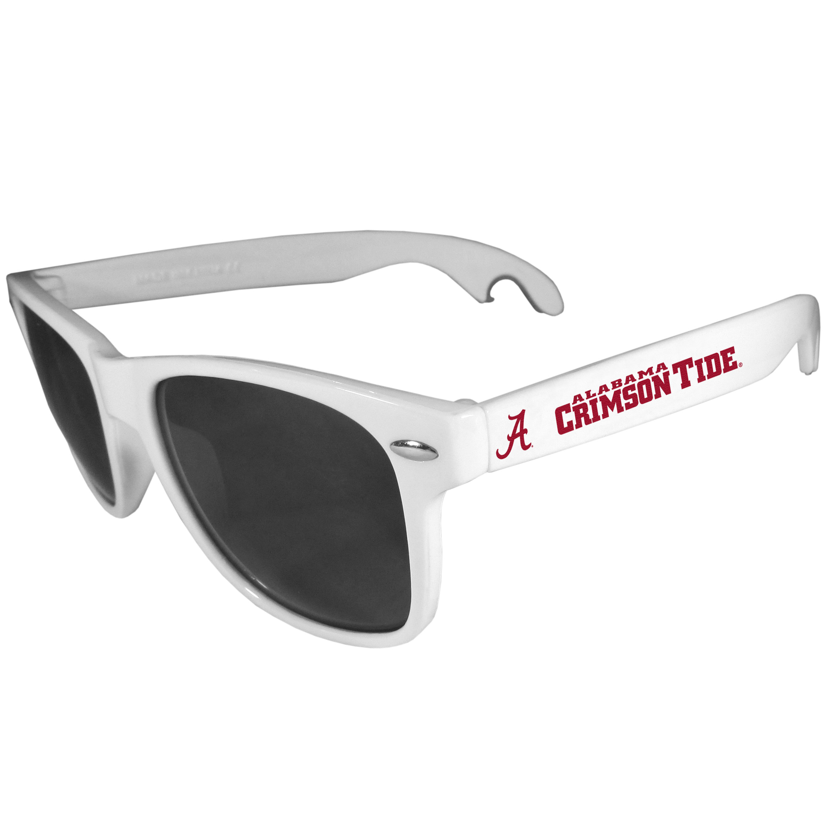 Alabama Crimson Tide Beachfarer Bottle Opener Sunglasses, White - Seriously, these sunglasses open bottles! Keep the party going with these amazing Alabama Crimson Tide bottle opener sunglasses. The stylish retro frames feature team designs on the arms and functional bottle openers on the end of the arms. Whether you are at the beach or having a backyard BBQ on game day, these shades will keep your eyes protected with 100% UVA/UVB protection and keep you hydrated with the handy bottle opener arms.