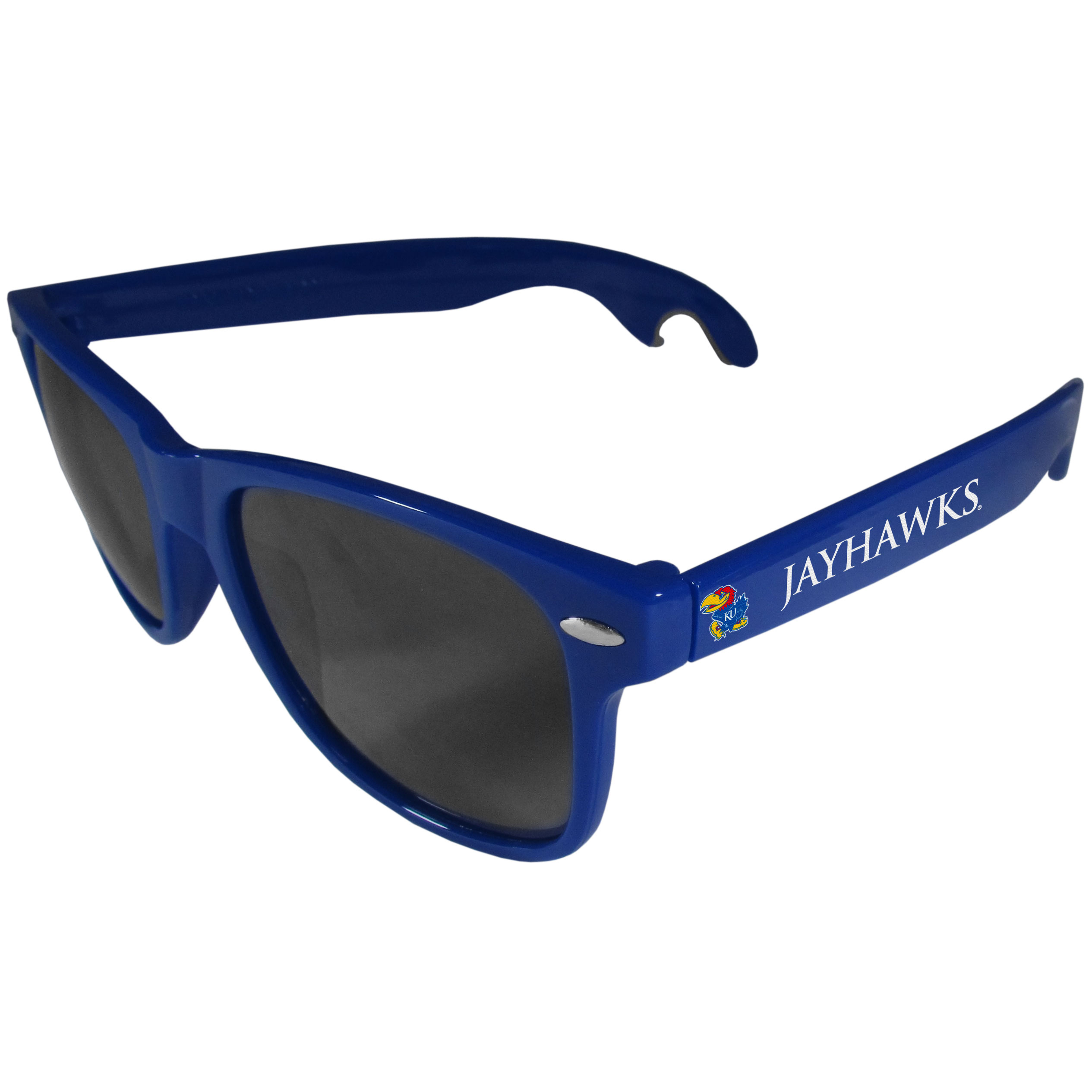 Kansas Jayhawks Beachfarer Bottle Opener Sunglasses, Blue - Seriously, these sunglasses open bottles! Keep the party going with these amazing Kansas Jayhawks bottle opener sunglasses. The stylish retro frames feature team designs on the arms and functional bottle openers on the end of the arms. Whether you are at the beach or having a backyard BBQ on game day, these shades will keep your eyes protected with 100% UVA/UVB protection and keep you hydrated with the handy bottle opener arms.