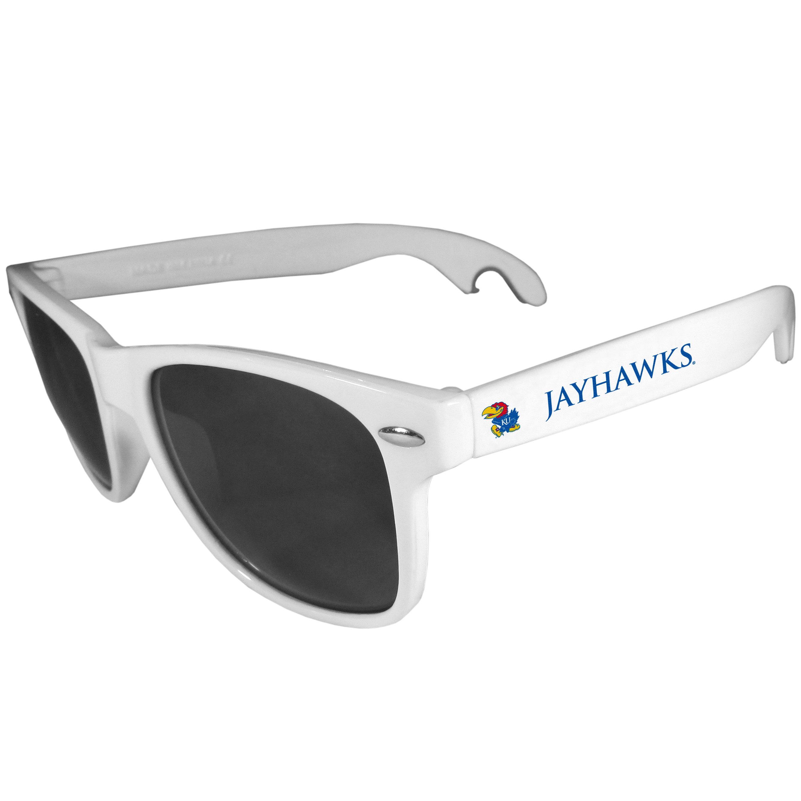 Kansas Jayhawks Beachfarer Bottle Opener Sunglasses, White - Seriously, these sunglasses open bottles! Keep the party going with these amazing Kansas Jayhawks bottle opener sunglasses. The stylish retro frames feature team designs on the arms and functional bottle openers on the end of the arms. Whether you are at the beach or having a backyard BBQ on game day, these shades will keep your eyes protected with 100% UVA/UVB protection and keep you hydrated with the handy bottle opener arms.