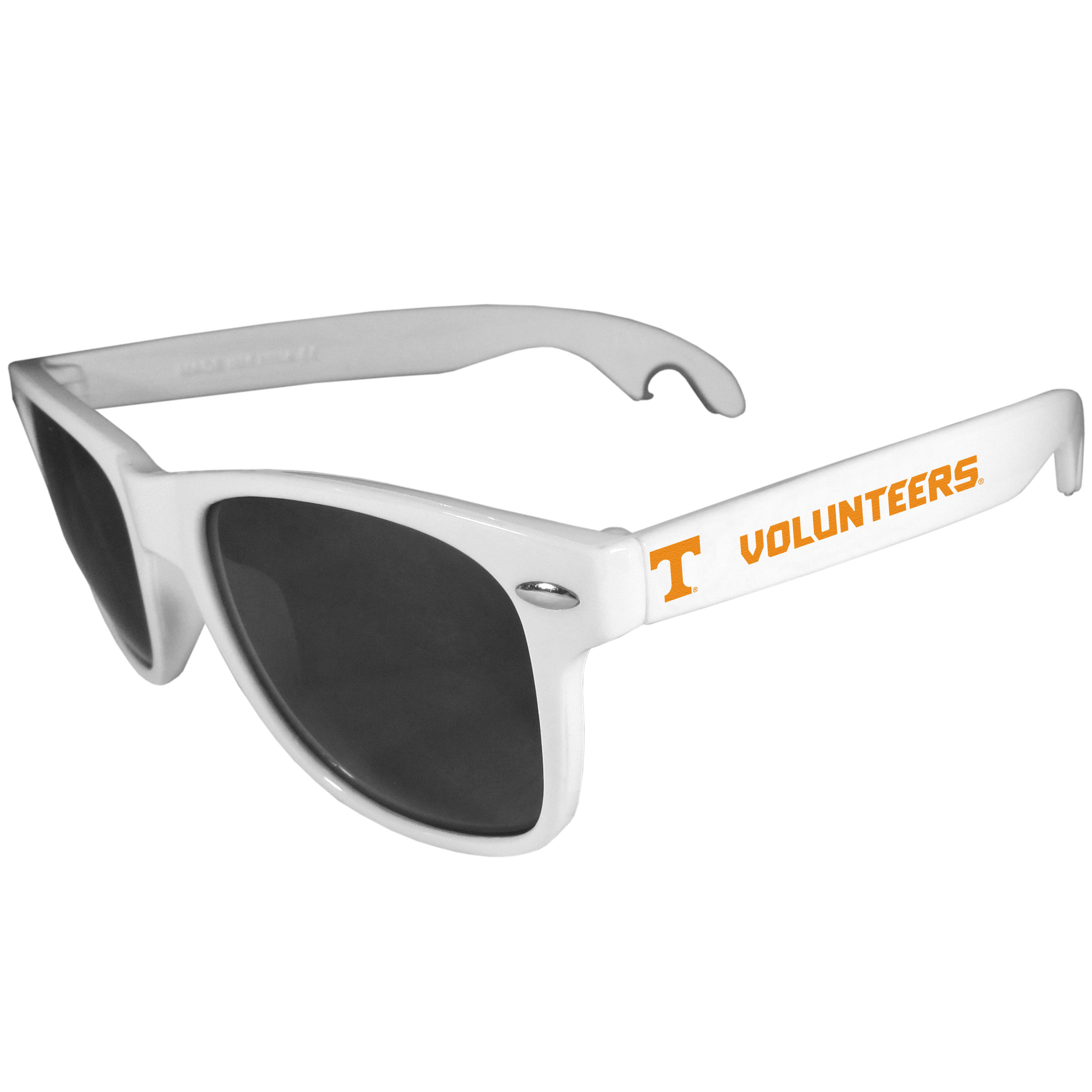 Tennessee Volunteers Beachfarer Bottle Opener Sunglasses, White - Seriously, these sunglasses open bottles! Keep the party going with these amazing Tennessee Volunteers bottle opener sunglasses. The stylish retro frames feature team designs on the arms and functional bottle openers on the end of the arms. Whether you are at the beach or having a backyard BBQ on game day, these shades will keep your eyes protected with 100% UVA/UVB protection and keep you hydrated with the handy bottle opener arms.