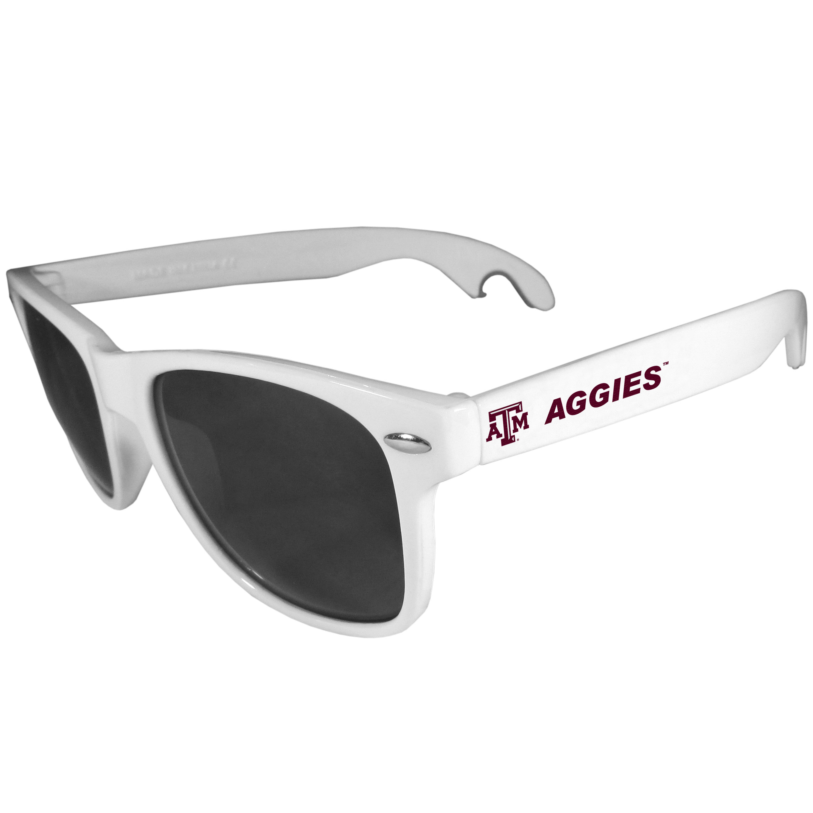 Texas A and M Aggies Beachfarer Bottle Opener Sunglasses, White - Seriously, these sunglasses open bottles! Keep the party going with these amazing Texas A & M Aggies bottle opener sunglasses. The stylish retro frames feature team designs on the arms and functional bottle openers on the end of the arms. Whether you are at the beach or having a backyard BBQ on game day, these shades will keep your eyes protected with 100% UVA/UVB protection and keep you hydrated with the handy bottle opener arms.