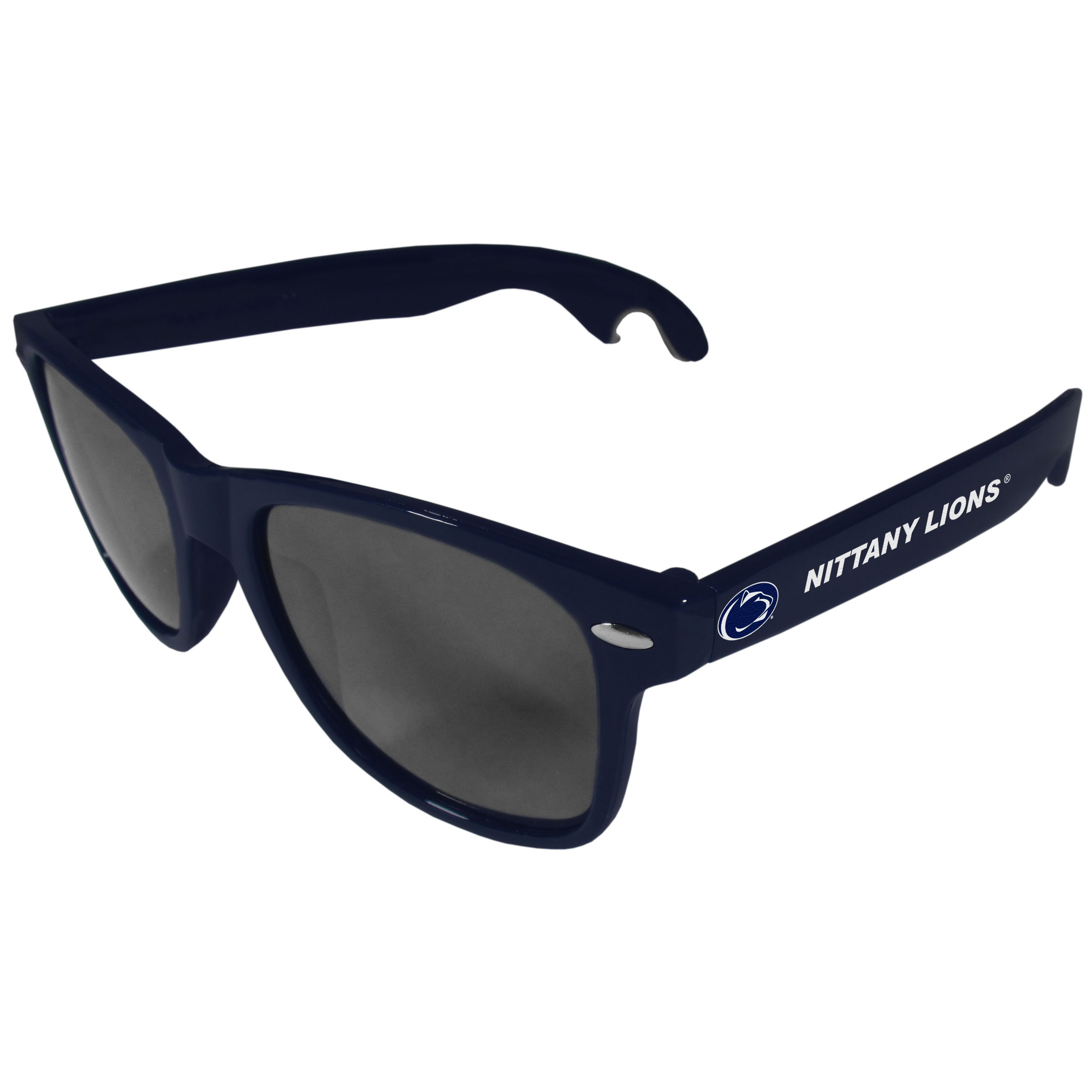 Penn St. Nittany Lions Beachfarer Bottle Opener Sunglasses, Dark Blue - Seriously, these sunglasses open bottles! Keep the party going with these amazing Penn St. Nittany Lions bottle opener sunglasses. The stylish retro frames feature team designs on the arms and functional bottle openers on the end of the arms. Whether you are at the beach or having a backyard BBQ on game day, these shades will keep your eyes protected with 100% UVA/UVB protection and keep you hydrated with the handy bottle opener arms.
