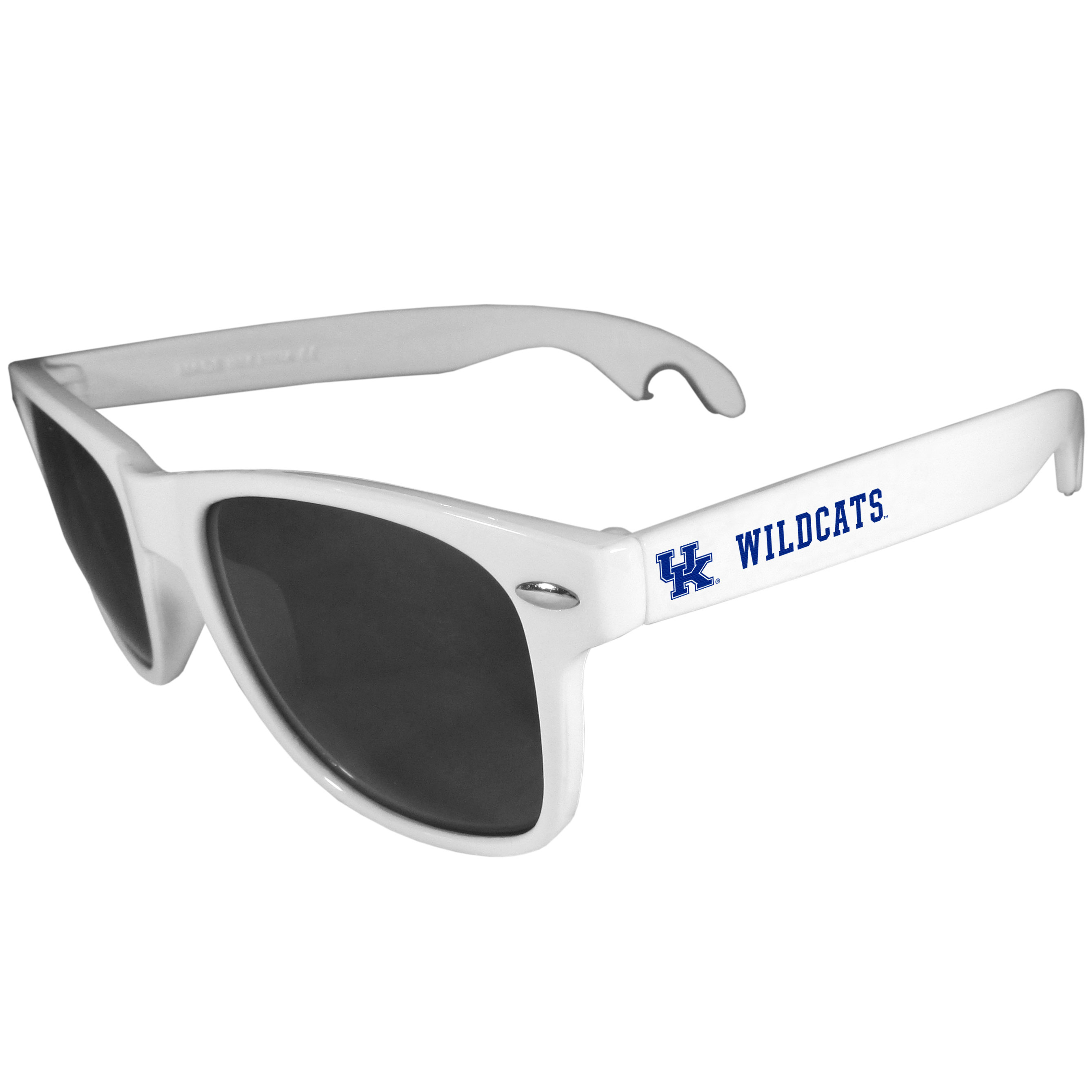 Kentucky Wildcats Beachfarer Bottle Opener Sunglasses, White - Seriously, these sunglasses open bottles! Keep the party going with these amazing Kentucky Wildcats bottle opener sunglasses. The stylish retro frames feature team designs on the arms and functional bottle openers on the end of the arms. Whether you are at the beach or having a backyard BBQ on game day, these shades will keep your eyes protected with 100% UVA/UVB protection and keep you hydrated with the handy bottle opener arms.