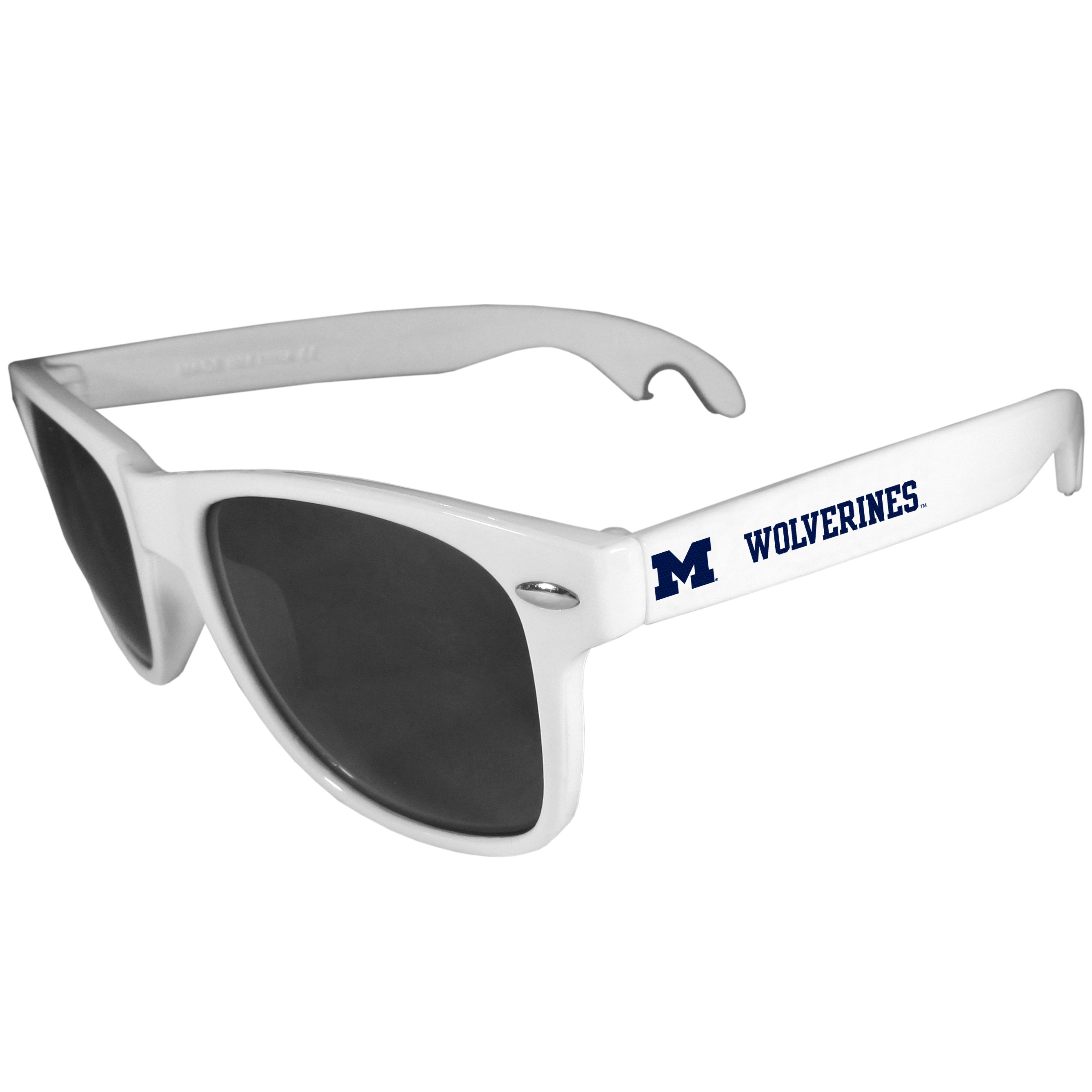 Michigan Wolverines Beachfarer Bottle Opener Sunglasses, White - Seriously, these sunglasses open bottles! Keep the party going with these amazing Michigan Wolverines bottle opener sunglasses. The stylish retro frames feature team designs on the arms and functional bottle openers on the end of the arms. Whether you are at the beach or having a backyard BBQ on game day, these shades will keep your eyes protected with 100% UVA/UVB protection and keep you hydrated with the handy bottle opener arms.