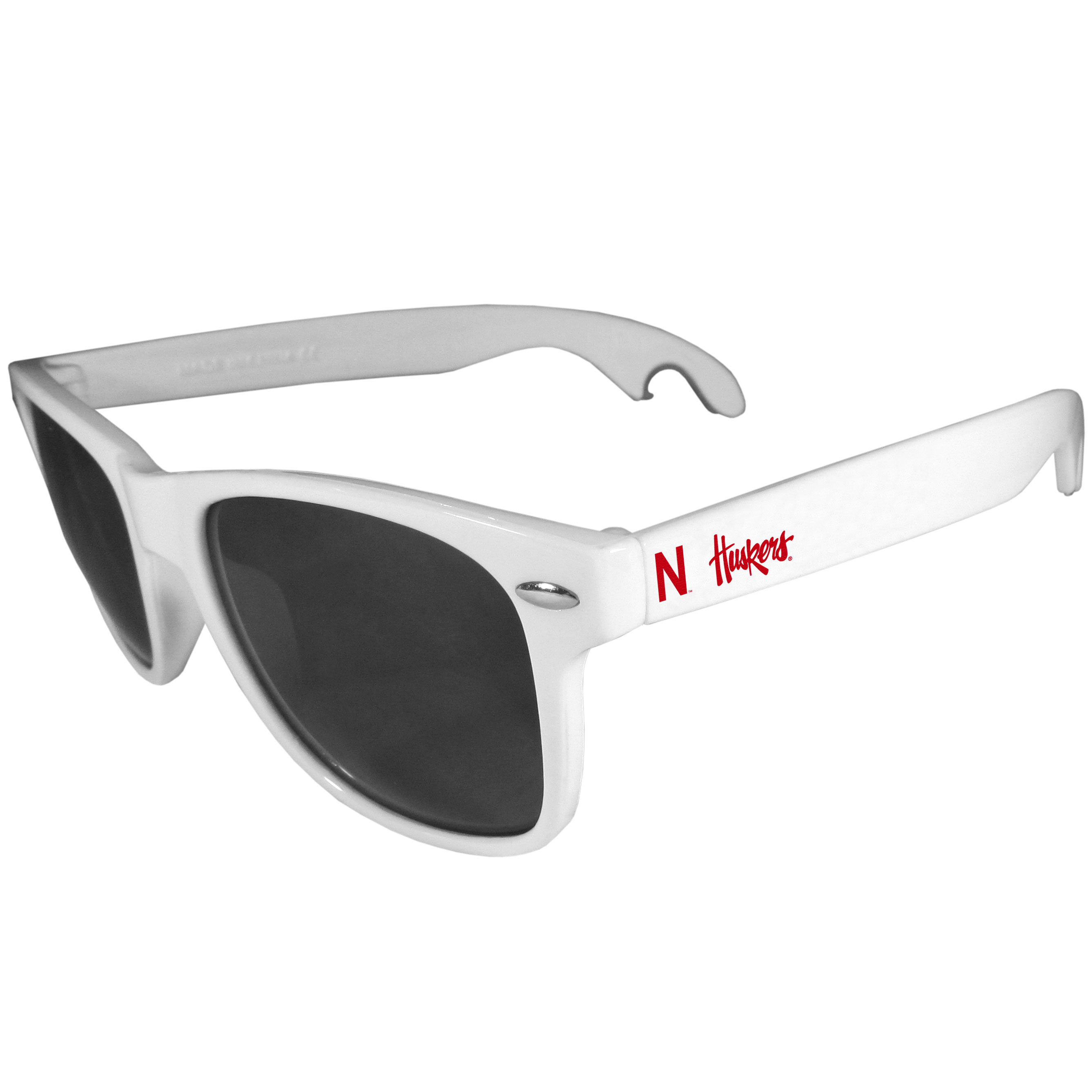 Nebraska Cornhuskers Beachfarer Bottle Opener Sunglasses, White - Seriously, these sunglasses open bottles! Keep the party going with these amazing Nebraska Cornhuskers bottle opener sunglasses. The stylish retro frames feature team designs on the arms and functional bottle openers on the end of the arms. Whether you are at the beach or having a backyard BBQ on game day, these shades will keep your eyes protected with 100% UVA/UVB protection and keep you hydrated with the handy bottle opener arms.