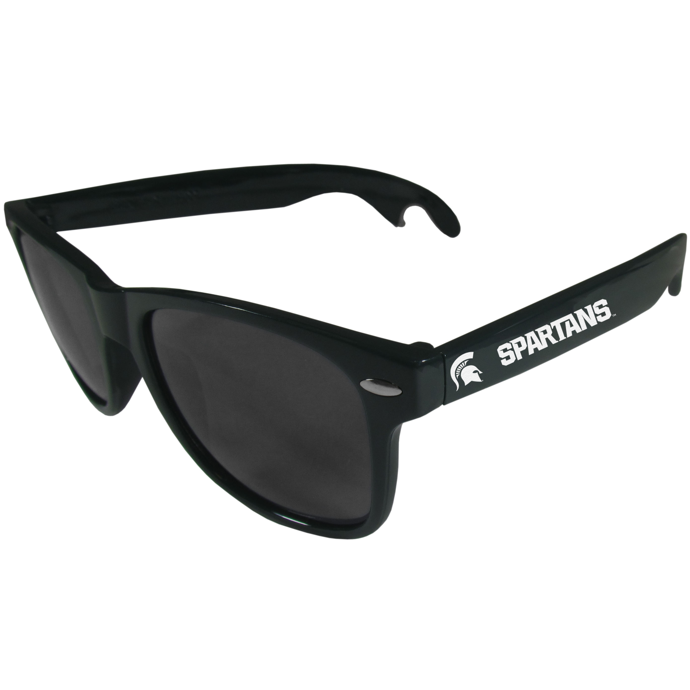 Michigan St. Spartans Beachfarer Bottle Opener Sunglasses, Dark Green - Seriously, these sunglasses open bottles! Keep the party going with these amazing Michigan St. Spartans bottle opener sunglasses. The stylish retro frames feature team designs on the arms and functional bottle openers on the end of the arms. Whether you are at the beach or having a backyard BBQ on game day, these shades will keep your eyes protected with 100% UVA/UVB protection and keep you hydrated with the handy bottle opener arms.