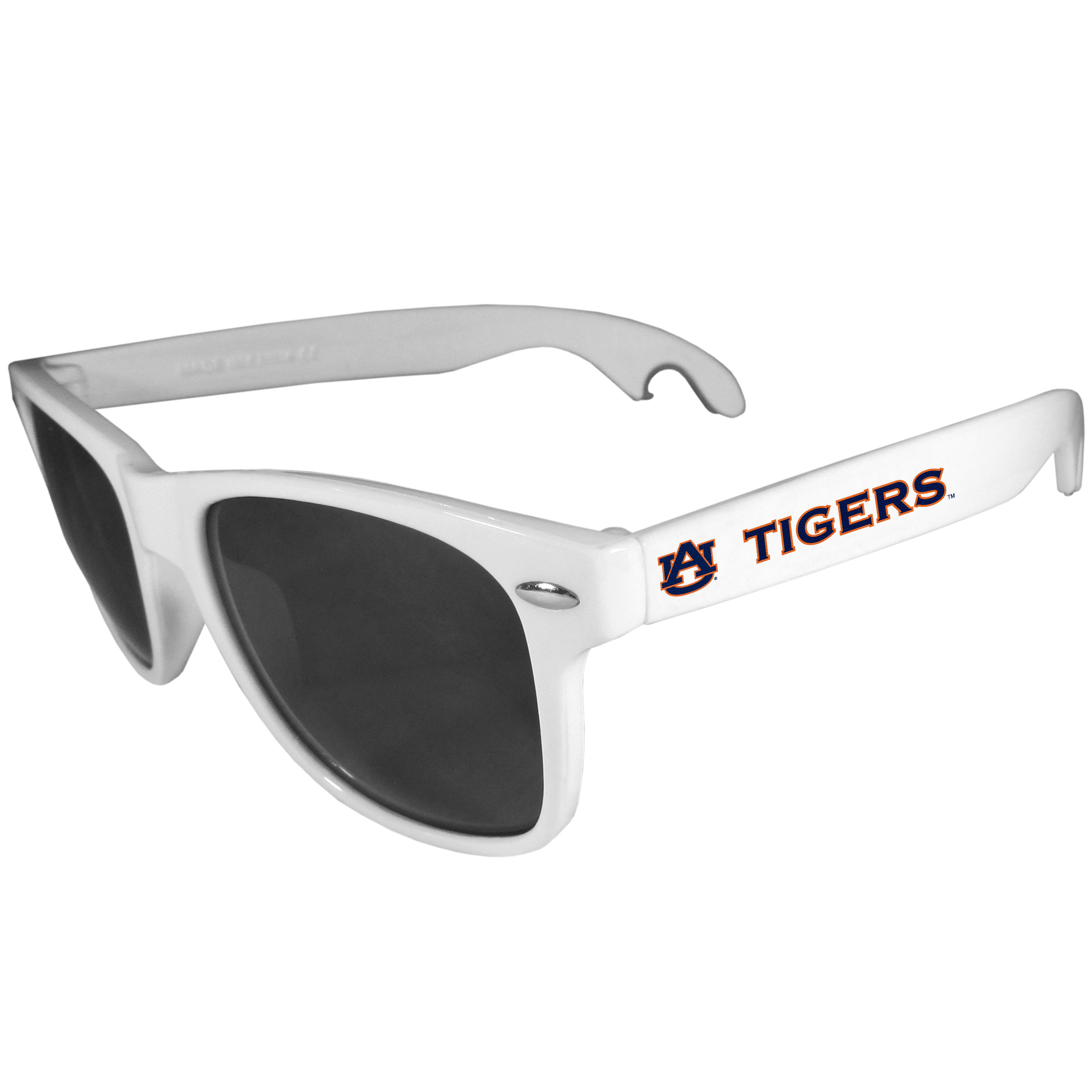 Auburn Tigers Beachfarer Bottle Opener Sunglasses, White - Seriously, these sunglasses open bottles! Keep the party going with these amazing Auburn Tigers bottle opener sunglasses. The stylish retro frames feature team designs on the arms and functional bottle openers on the end of the arms. Whether you are at the beach or having a backyard BBQ on game day, these shades will keep your eyes protected with 100% UVA/UVB protection and keep you hydrated with the handy bottle opener arms.