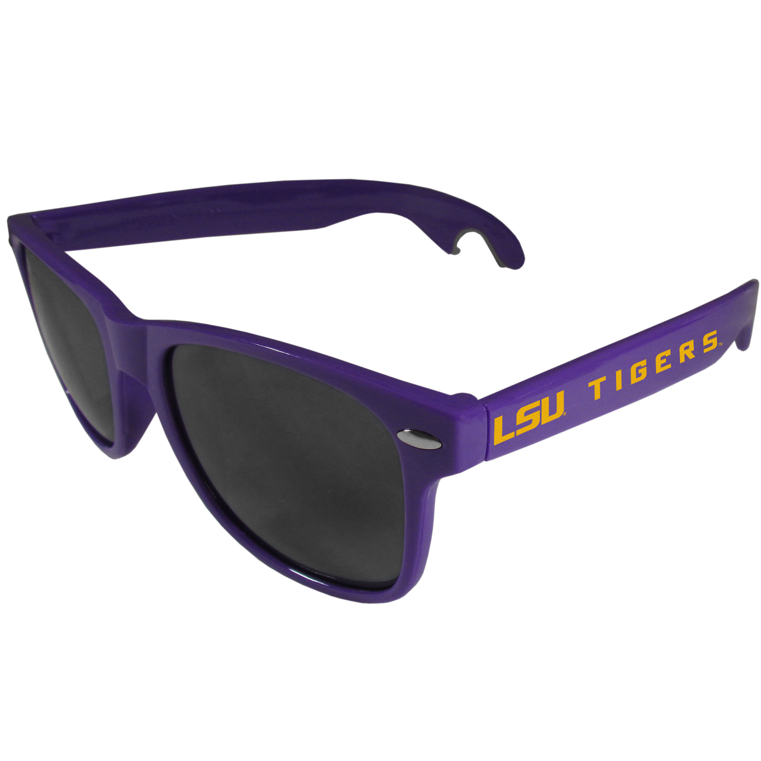 LSU Tigers Beachfarer Bottle Opener Sunglasses, Purple - Seriously, these sunglasses open bottles! Keep the party going with these amazing LSU Tigers bottle opener sunglasses. The stylish retro frames feature team designs on the arms and functional bottle openers on the end of the arms. Whether you are at the beach or having a backyard BBQ on game day, these shades will keep your eyes protected with 100% UVA/UVB protection and keep you hydrated with the handy bottle opener arms.