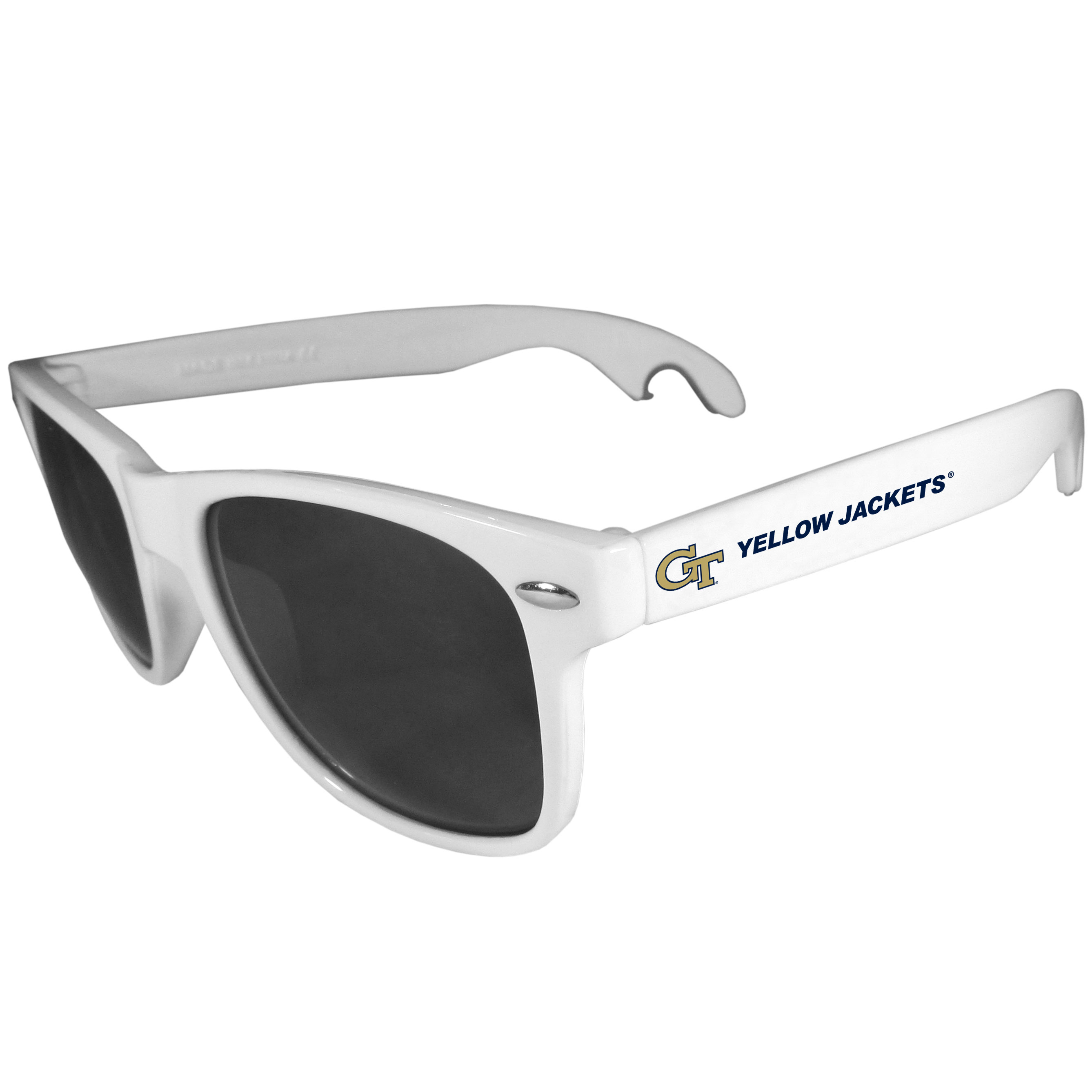 Georgia Tech Yellow Jackets Beachfarer Bottle Opener Sunglasses, White - Seriously, these sunglasses open bottles! Keep the party going with these amazing Georgia Tech Yellow Jackets bottle opener sunglasses. The stylish retro frames feature team designs on the arms and functional bottle openers on the end of the arms. Whether you are at the beach or having a backyard BBQ on game day, these shades will keep your eyes protected with 100% UVA/UVB protection and keep you hydrated with the handy bottle opener arms.