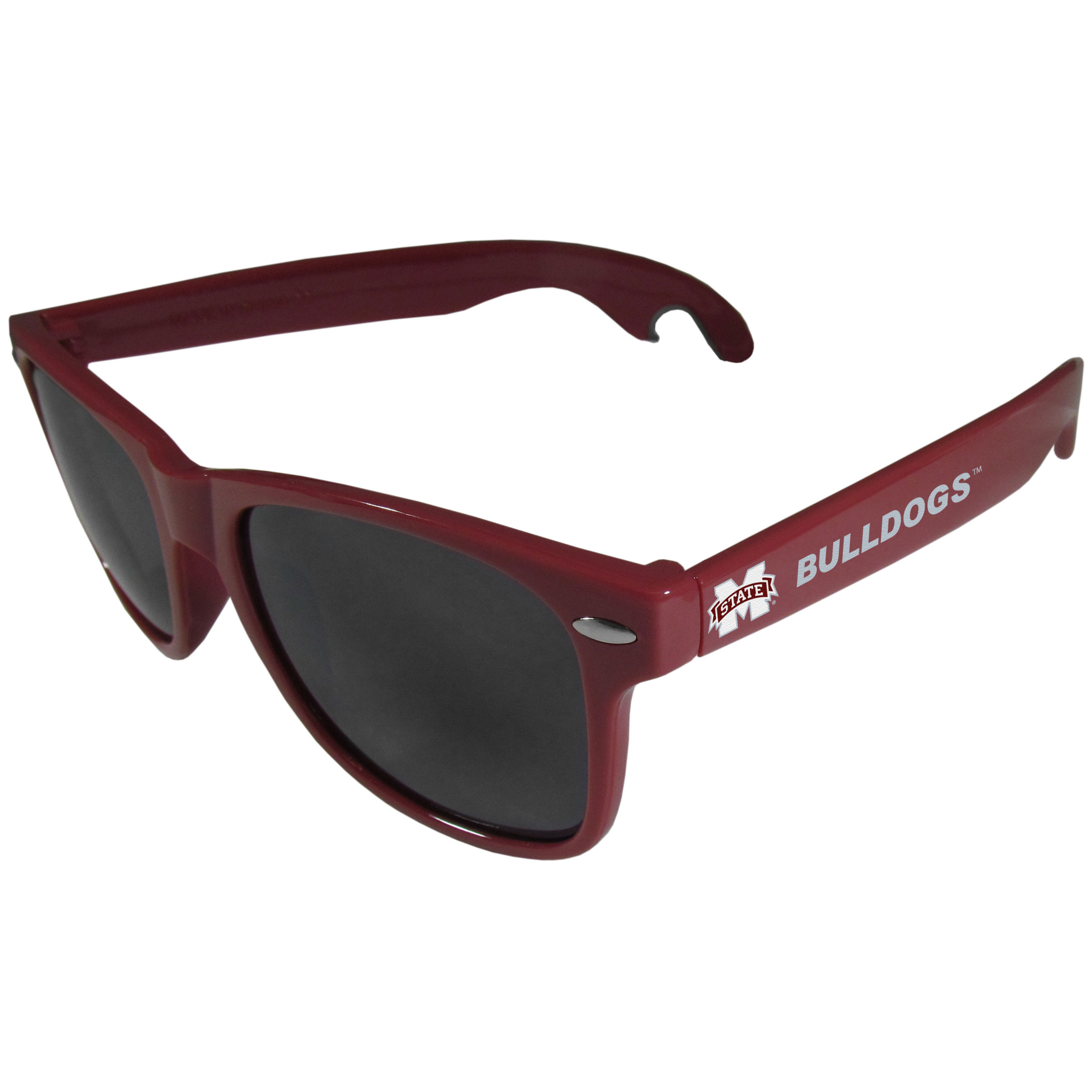 Mississippi St. Bulldogs Beachfarer Bottle Opener Sunglasses, Maroon - Seriously, these sunglasses open bottles! Keep the party going with these amazing Mississippi St. Bulldogs bottle opener sunglasses. The stylish retro frames feature team designs on the arms and functional bottle openers on the end of the arms. Whether you are at the beach or having a backyard BBQ on game day, these shades will keep your eyes protected with 100% UVA/UVB protection and keep you hydrated with the handy bottle opener arms.