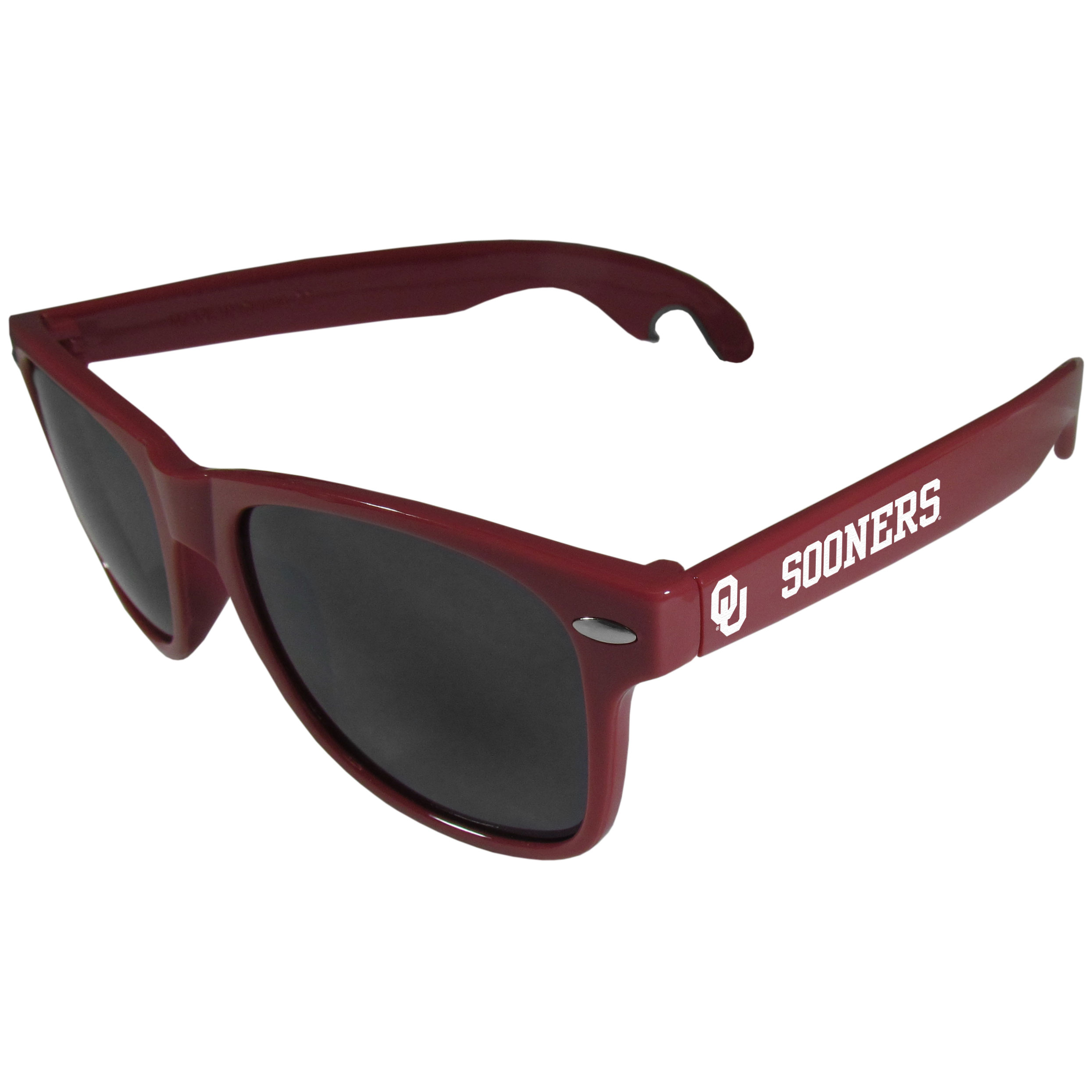 Oklahoma Sooners Beachfarer Bottle Opener Sunglasses, Maroon - Seriously, these sunglasses open bottles! Keep the party going with these amazing Oklahoma Sooners bottle opener sunglasses. The stylish retro frames feature team designs on the arms and functional bottle openers on the end of the arms. Whether you are at the beach or having a backyard BBQ on game day, these shades will keep your eyes protected with 100% UVA/UVB protection and keep you hydrated with the handy bottle opener arms.