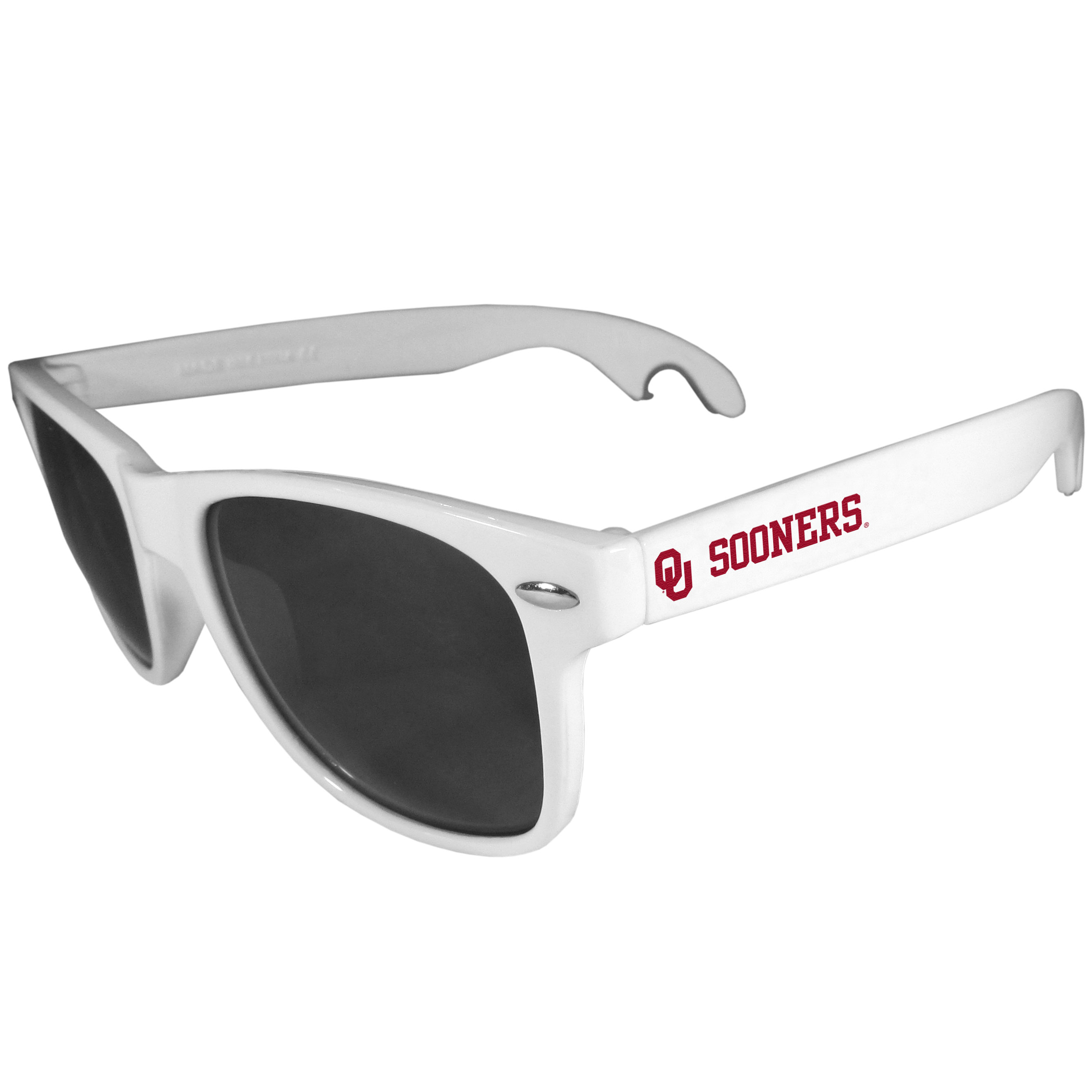 Oklahoma Sooners Beachfarer Bottle Opener Sunglasses, White - Seriously, these sunglasses open bottles! Keep the party going with these amazing Oklahoma Sooners bottle opener sunglasses. The stylish retro frames feature team designs on the arms and functional bottle openers on the end of the arms. Whether you are at the beach or having a backyard BBQ on game day, these shades will keep your eyes protected with 100% UVA/UVB protection and keep you hydrated with the handy bottle opener arms.