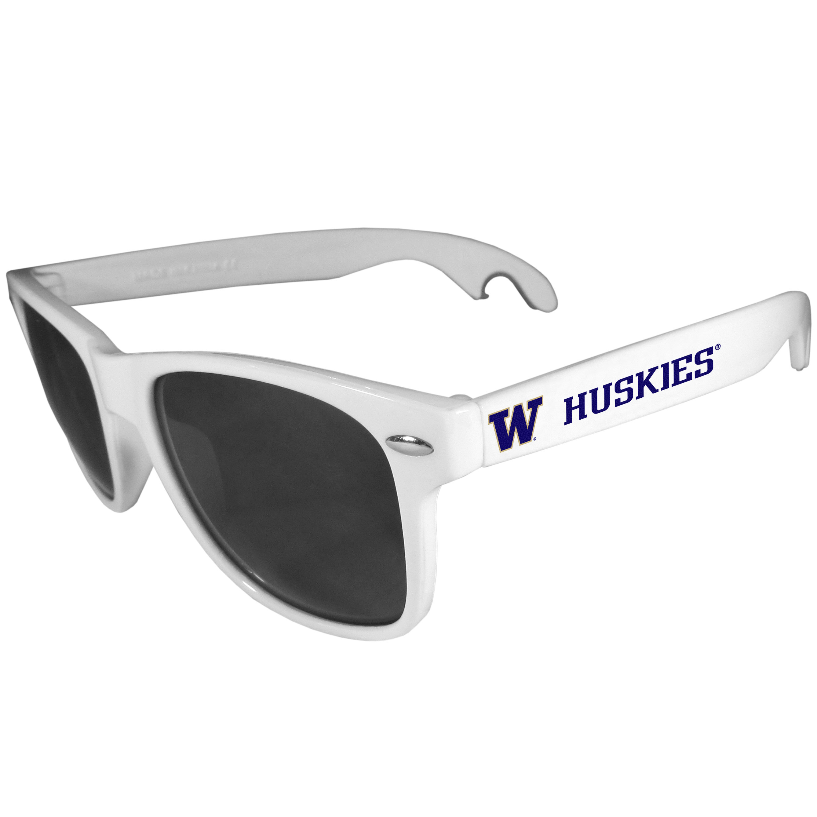 Washington Huskies Beachfarer Bottle Opener Sunglasses, White - Seriously, these sunglasses open bottles! Keep the party going with these amazing Washington Huskies bottle opener sunglasses. The stylish retro frames feature team designs on the arms and functional bottle openers on the end of the arms. Whether you are at the beach or having a backyard BBQ on game day, these shades will keep your eyes protected with 100% UVA/UVB protection and keep you hydrated with the handy bottle opener arms.