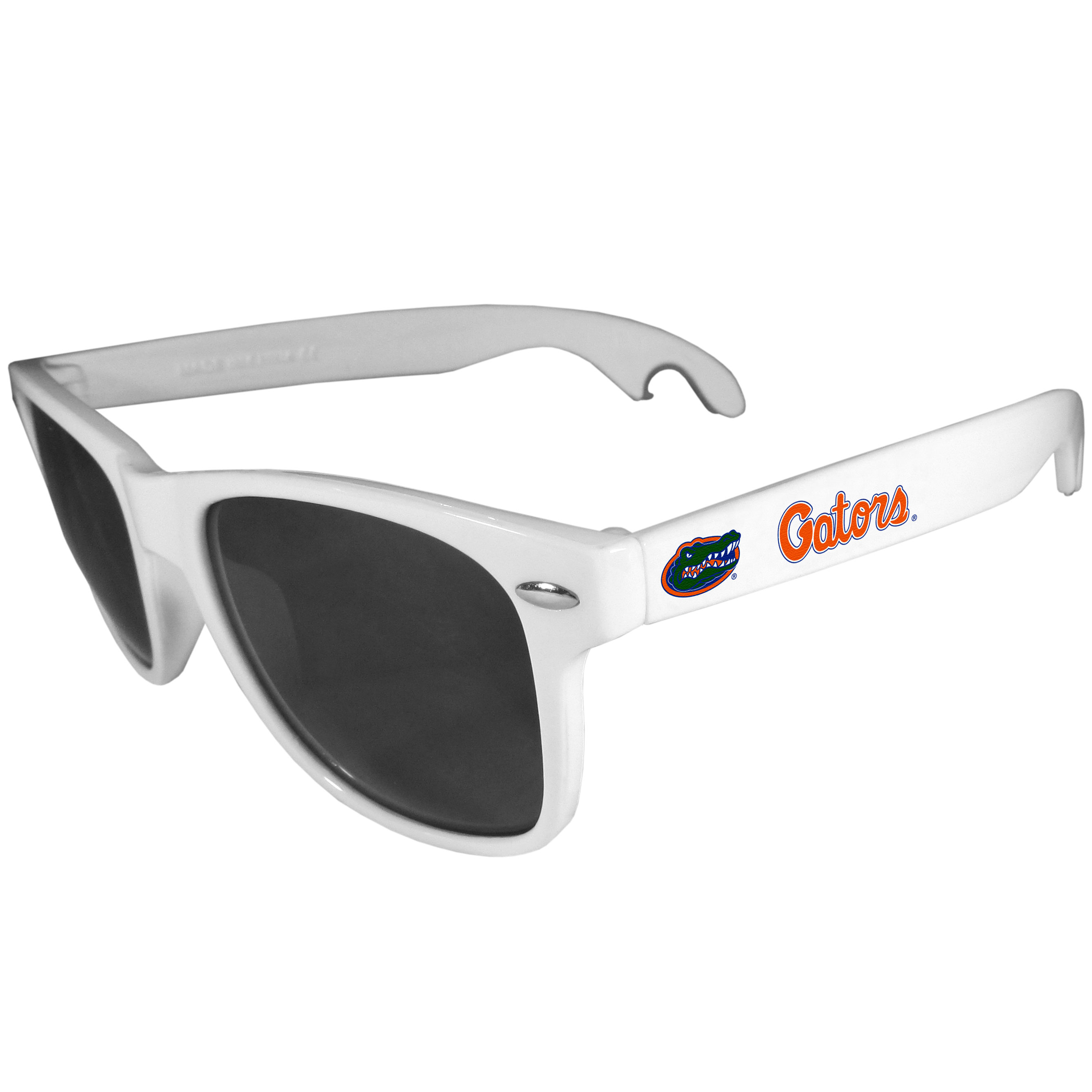 Florida Gators Beachfarer Bottle Opener Sunglasses, White - Seriously, these sunglasses open bottles! Keep the party going with these amazing Florida Gators bottle opener sunglasses. The stylish retro frames feature team designs on the arms and functional bottle openers on the end of the arms. Whether you are at the beach or having a backyard BBQ on game day, these shades will keep your eyes protected with 100% UVA/UVB protection and keep you hydrated with the handy bottle opener arms.