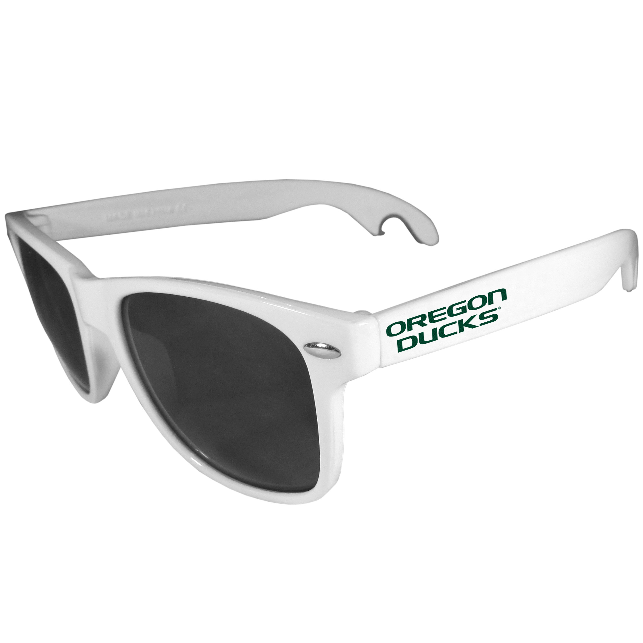 Oregon Ducks Beachfarer Bottle Opener Sunglasses, White - Seriously, these sunglasses open bottles! Keep the party going with these amazing Oregon Ducks bottle opener sunglasses. The stylish retro frames feature team designs on the arms and functional bottle openers on the end of the arms. Whether you are at the beach or having a backyard BBQ on game day, these shades will keep your eyes protected with 100% UVA/UVB protection and keep you hydrated with the handy bottle opener arms.