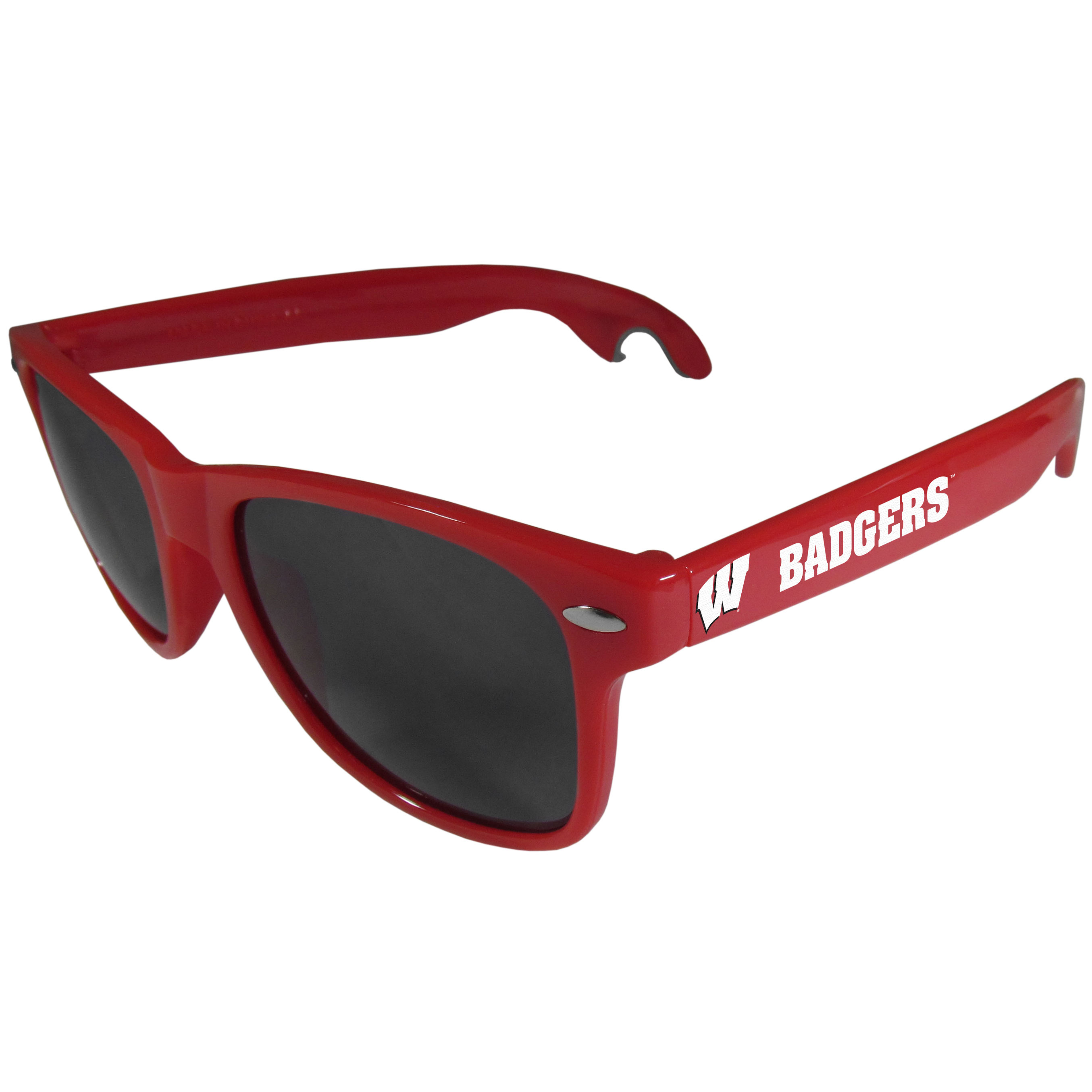 Wisconsin Badgers Beachfarer Bottle Opener Sunglasses, Red - Seriously, these sunglasses open bottles! Keep the party going with these amazing Wisconsin Badgers bottle opener sunglasses. The stylish retro frames feature team designs on the arms and functional bottle openers on the end of the arms. Whether you are at the beach or having a backyard BBQ on game day, these shades will keep your eyes protected with 100% UVA/UVB protection and keep you hydrated with the handy bottle opener arms.