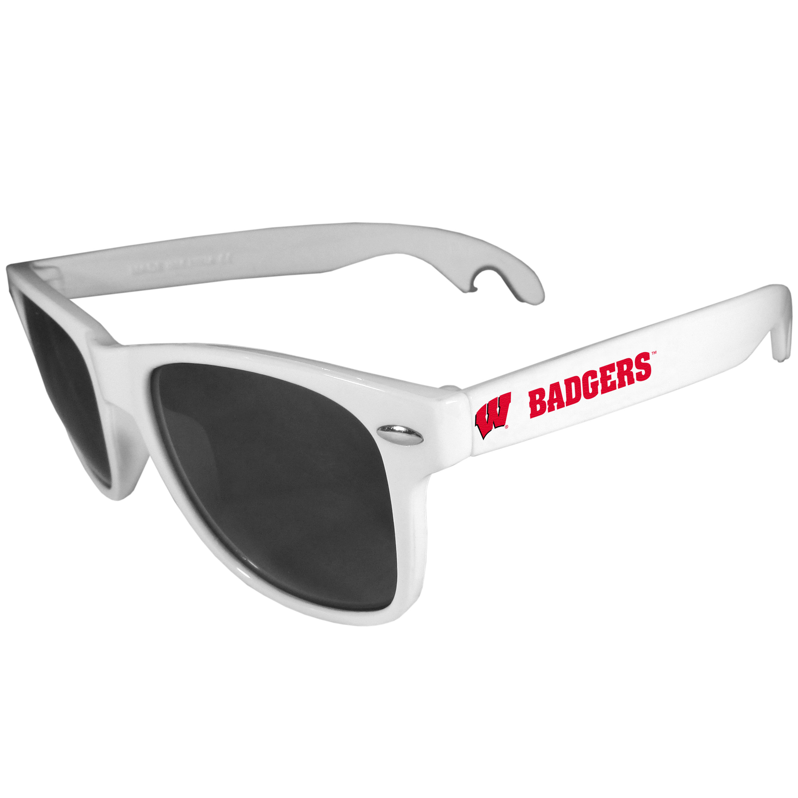 Wisconsin Badgers Beachfarer Bottle Opener Sunglasses, White - Seriously, these sunglasses open bottles! Keep the party going with these amazing Wisconsin Badgers bottle opener sunglasses. The stylish retro frames feature team designs on the arms and functional bottle openers on the end of the arms. Whether you are at the beach or having a backyard BBQ on game day, these shades will keep your eyes protected with 100% UVA/UVB protection and keep you hydrated with the handy bottle opener arms.