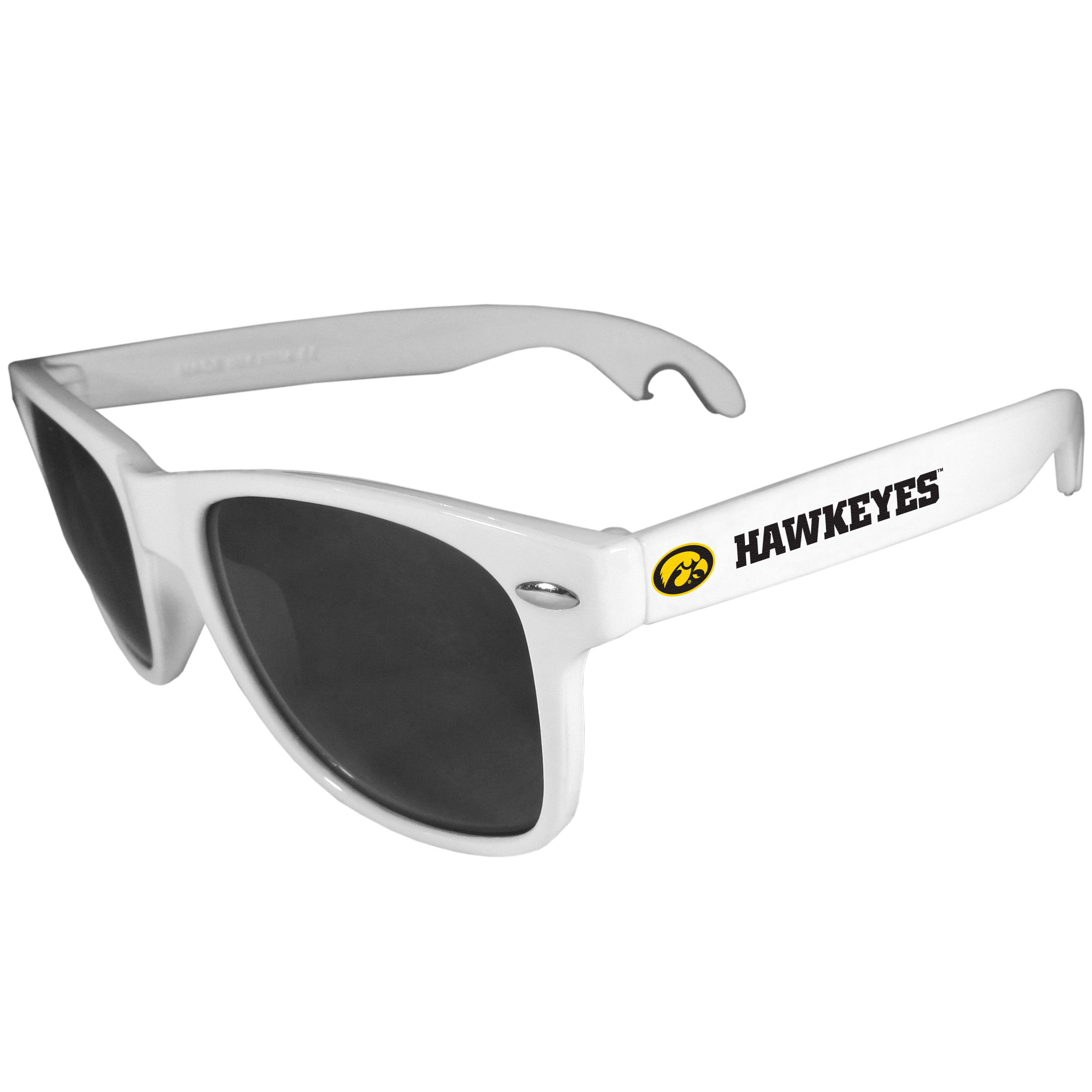 Iowa Hawkeyes Beachfarer Bottle Opener Sunglasses, White - Seriously, these sunglasses open bottles! Keep the party going with these amazing Iowa Hawkeyes bottle opener sunglasses. The stylish retro frames feature team designs on the arms and functional bottle openers on the end of the arms. Whether you are at the beach or having a backyard BBQ on game day, these shades will keep your eyes protected with 100% UVA/UVB protection and keep you hydrated with the handy bottle opener arms.