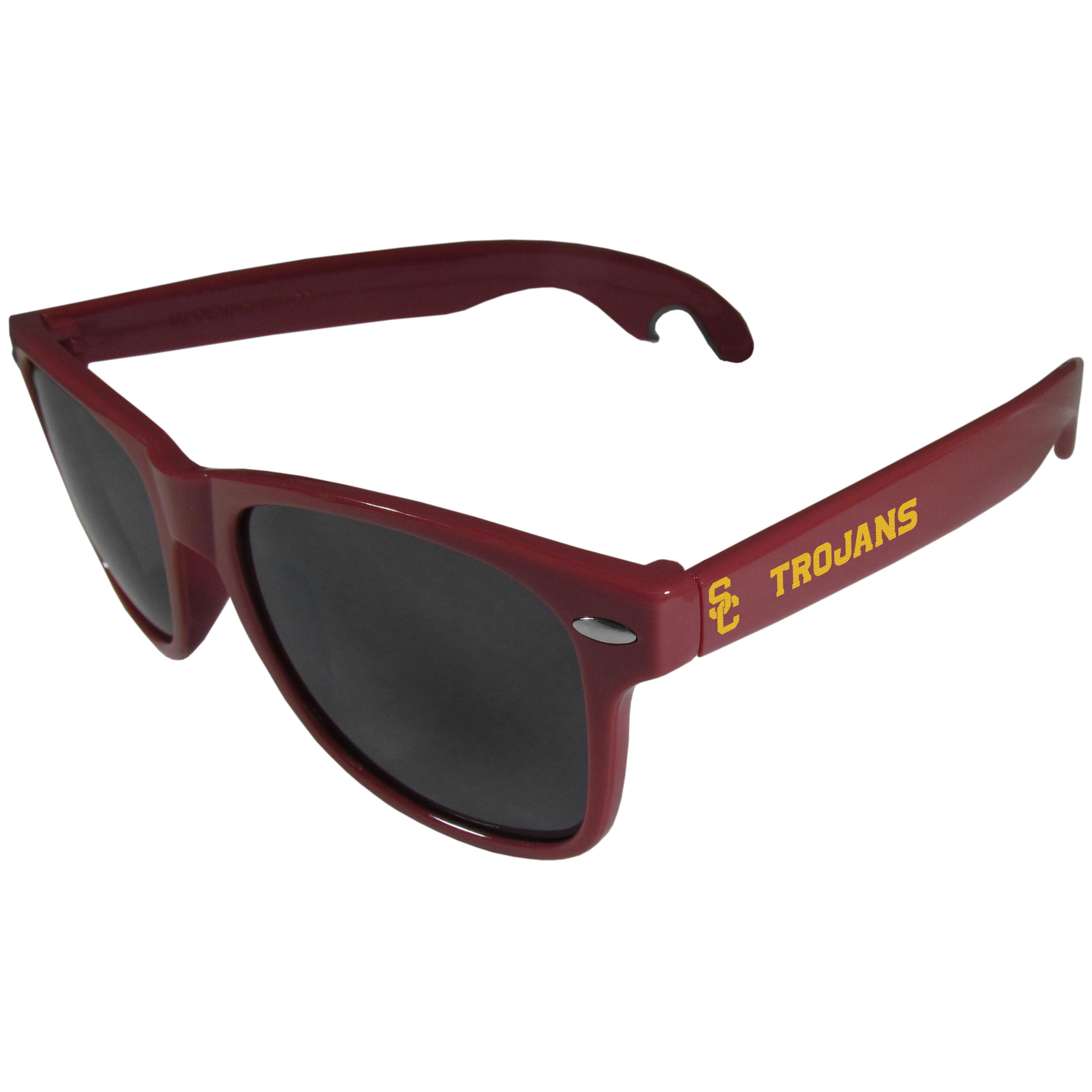USC Trojans Beachfarer Bottle Opener Sunglasses, Maroon - Seriously, these sunglasses open bottles! Keep the party going with these amazing USC Trojans bottle opener sunglasses. The stylish retro frames feature team designs on the arms and functional bottle openers on the end of the arms. Whether you are at the beach or having a backyard BBQ on game day, these shades will keep your eyes protected with 100% UVA/UVB protection and keep you hydrated with the handy bottle opener arms.
