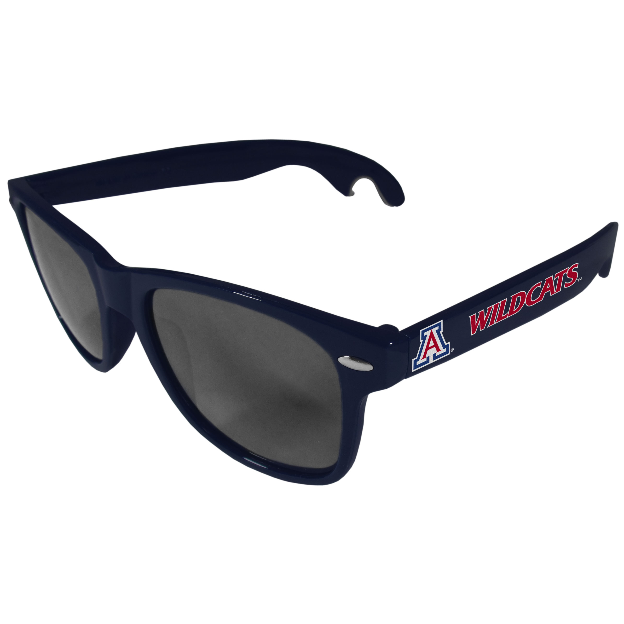 Arizona Wildcats Beachfarer Bottle Opener Sunglasses, Dark Blue - Seriously, these sunglasses open bottles! Keep the party going with these amazing Arizona Wildcats bottle opener sunglasses. The stylish retro frames feature team designs on the arms and functional bottle openers on the end of the arms. Whether you are at the beach or having a backyard BBQ on game day, these shades will keep your eyes protected with 100% UVA/UVB protection and keep you hydrated with the handy bottle opener arms.