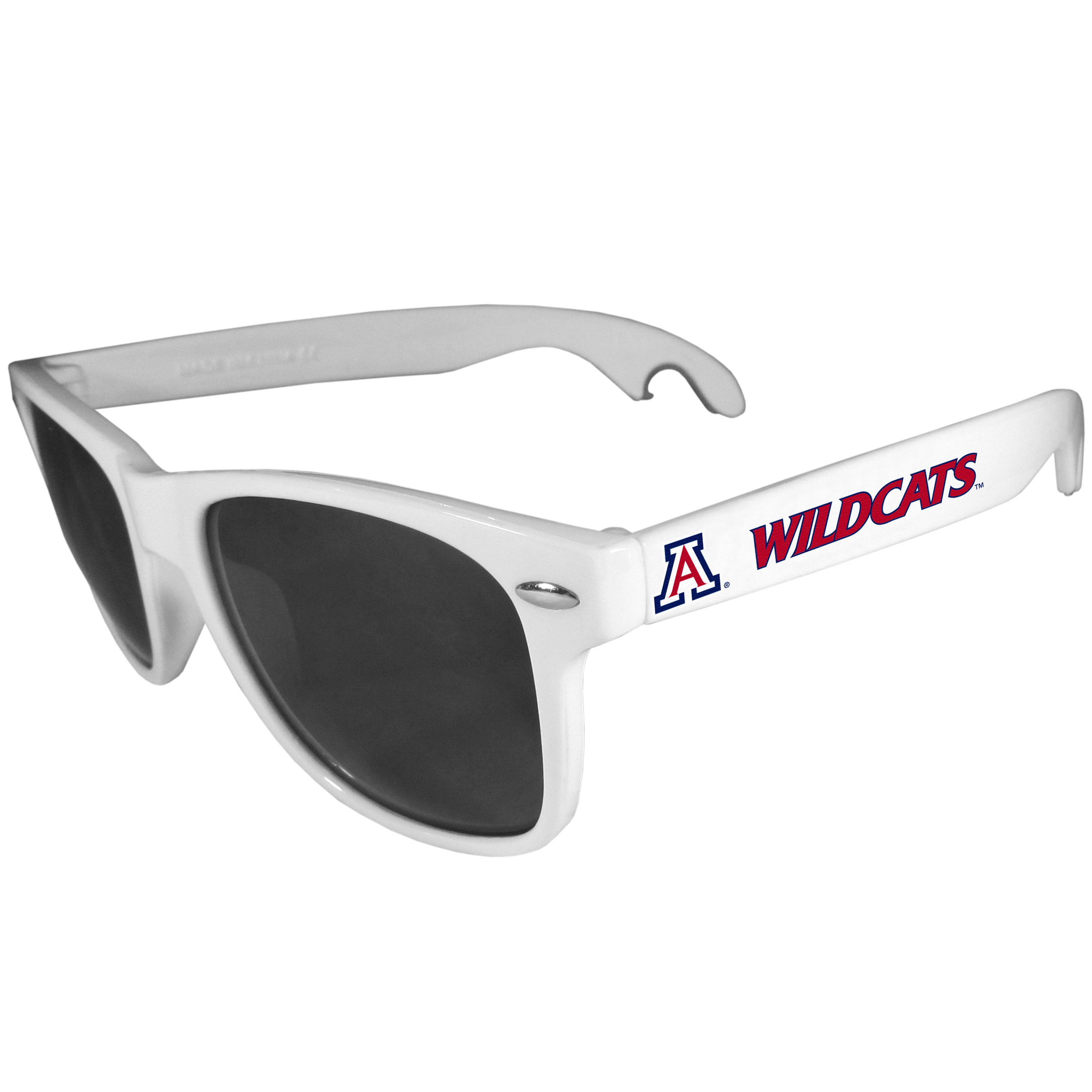 Arizona Wildcats Beachfarer Bottle Opener Sunglasses, White - Seriously, these sunglasses open bottles! Keep the party going with these amazing Arizona Wildcats bottle opener sunglasses. The stylish retro frames feature team designs on the arms and functional bottle openers on the end of the arms. Whether you are at the beach or having a backyard BBQ on game day, these shades will keep your eyes protected with 100% UVA/UVB protection and keep you hydrated with the handy bottle opener arms.