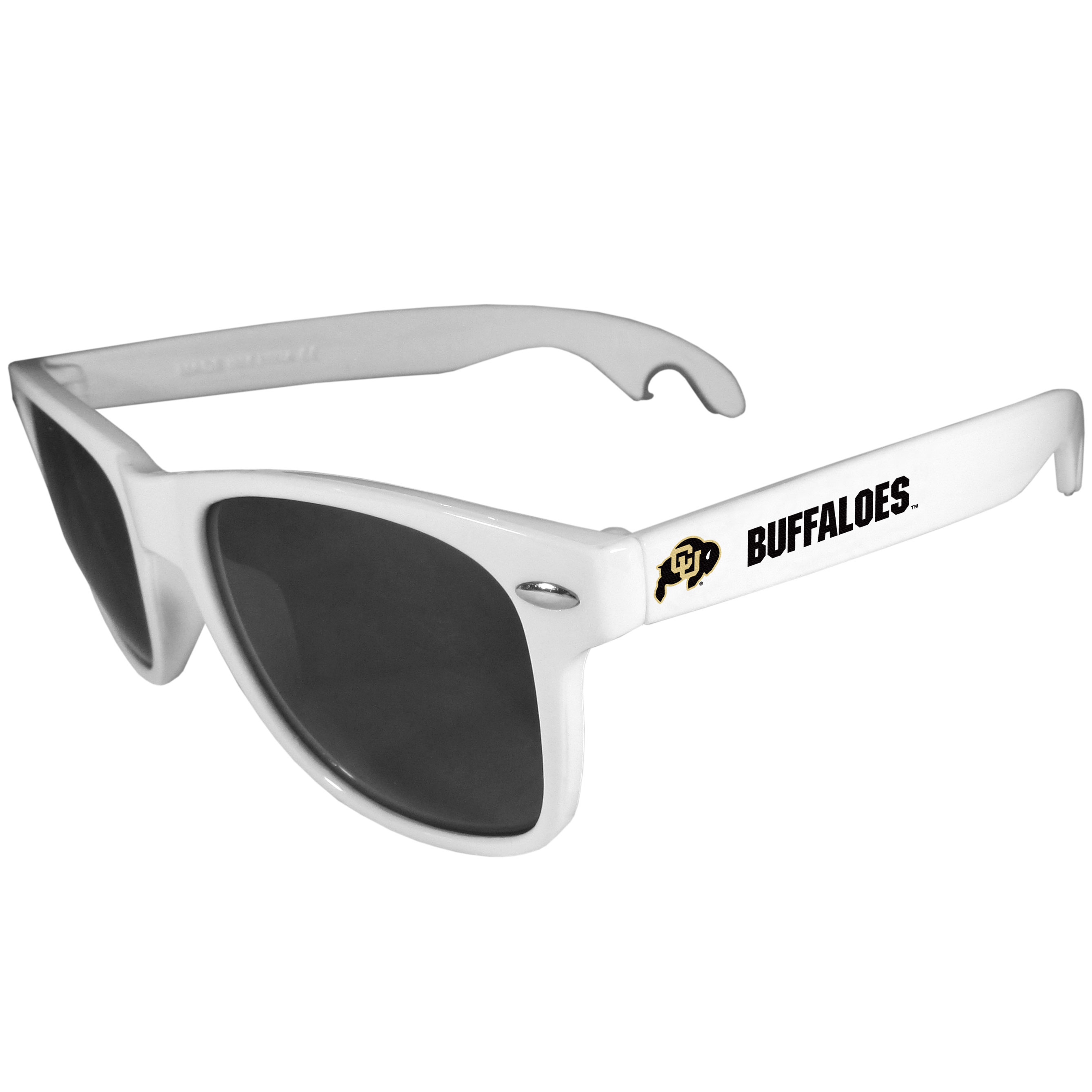 Colorado Buffaloes Beachfarer Bottle Opener Sunglasses, White - Seriously, these sunglasses open bottles! Keep the party going with these amazing Colorado Buffaloes bottle opener sunglasses. The stylish retro frames feature team designs on the arms and functional bottle openers on the end of the arms. Whether you are at the beach or having a backyard BBQ on game day, these shades will keep your eyes protected with 100% UVA/UVB protection and keep you hydrated with the handy bottle opener arms.