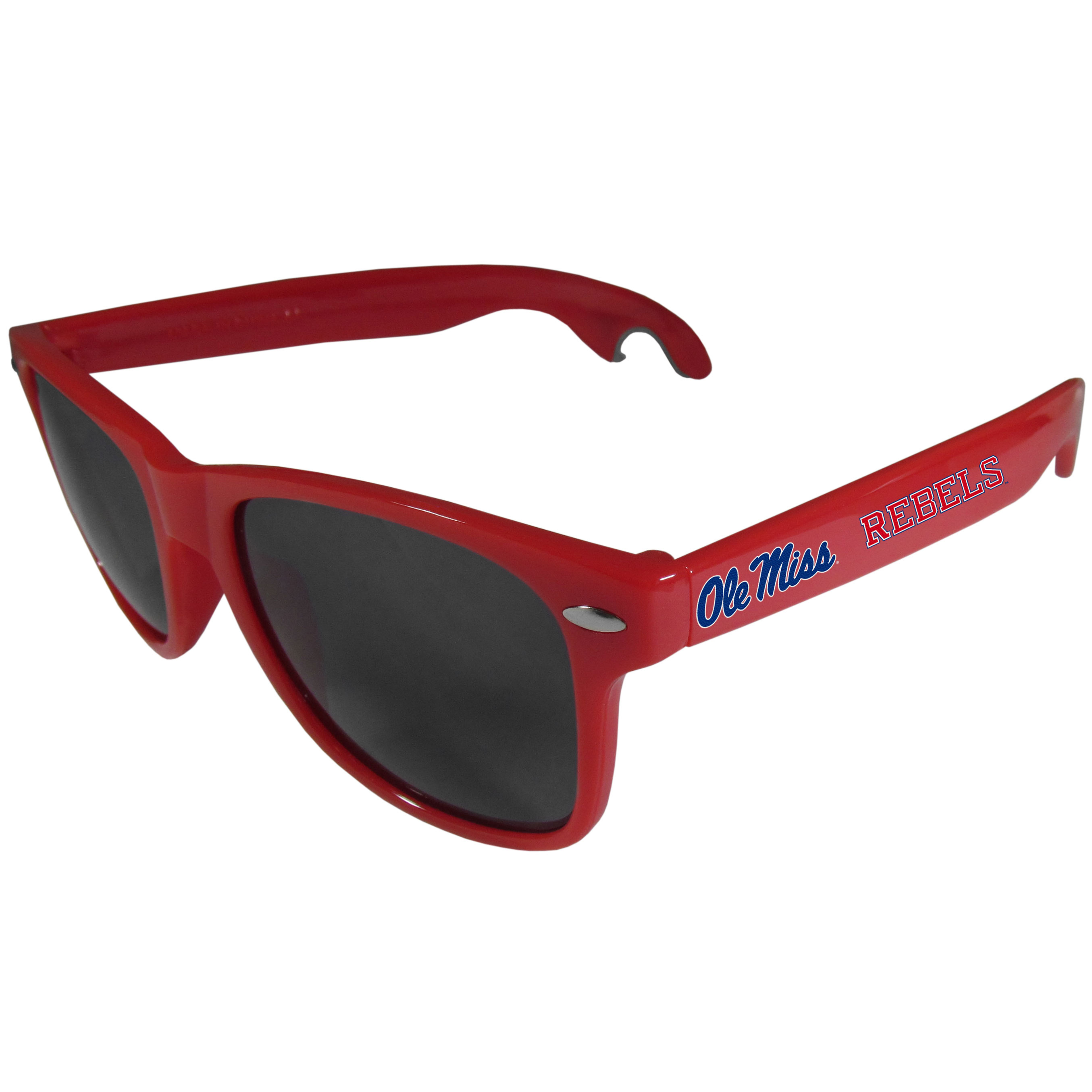 Mississippi Rebels Beachfarer Bottle Opener Sunglasses, Red - Seriously, these sunglasses open bottles! Keep the party going with these amazing Mississippi Rebels bottle opener sunglasses. The stylish retro frames feature team designs on the arms and functional bottle openers on the end of the arms. Whether you are at the beach or having a backyard BBQ on game day, these shades will keep your eyes protected with 100% UVA/UVB protection and keep you hydrated with the handy bottle opener arms.