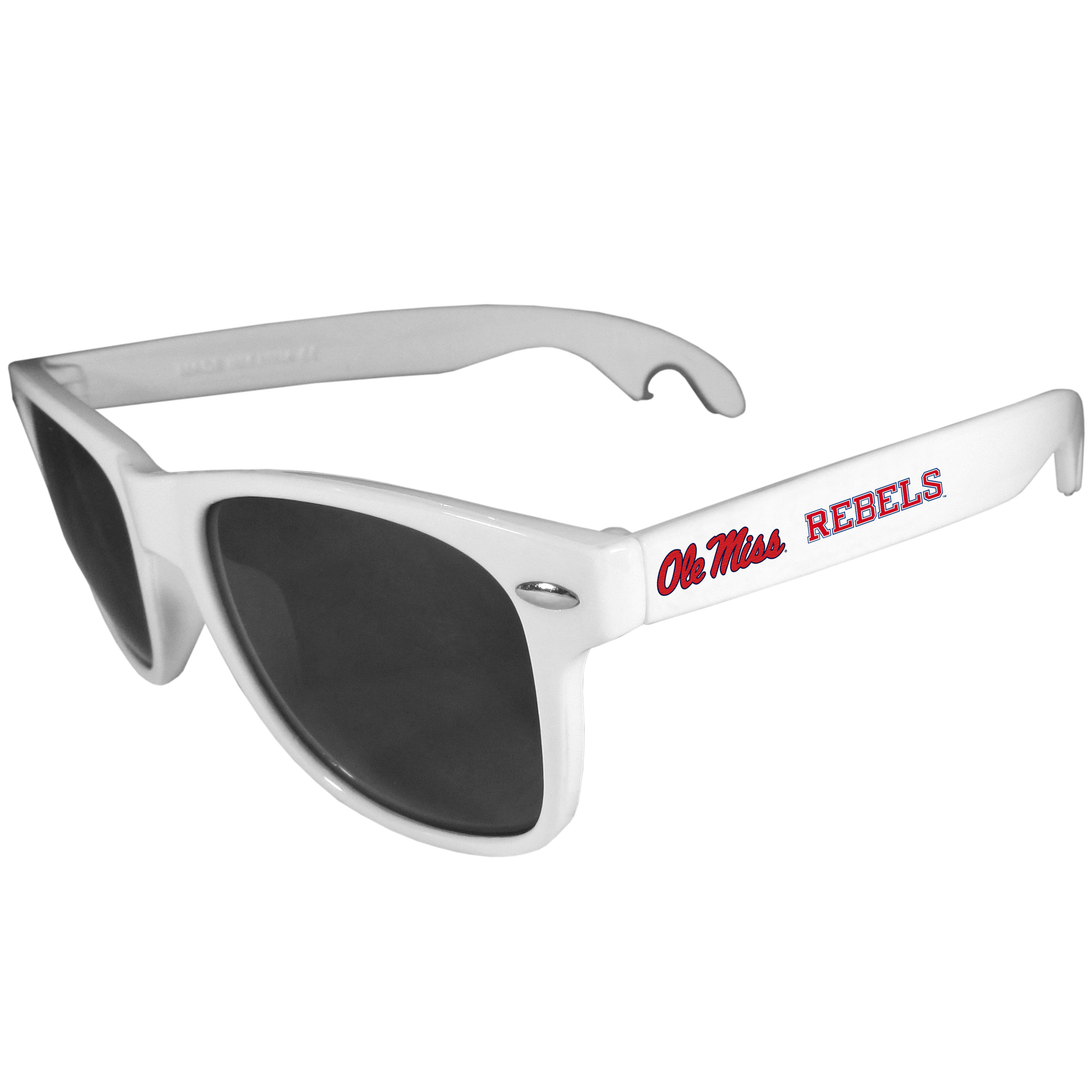 Mississippi Rebels Beachfarer Bottle Opener Sunglasses, White - Seriously, these sunglasses open bottles! Keep the party going with these amazing Mississippi Rebels bottle opener sunglasses. The stylish retro frames feature team designs on the arms and functional bottle openers on the end of the arms. Whether you are at the beach or having a backyard BBQ on game day, these shades will keep your eyes protected with 100% UVA/UVB protection and keep you hydrated with the handy bottle opener arms.