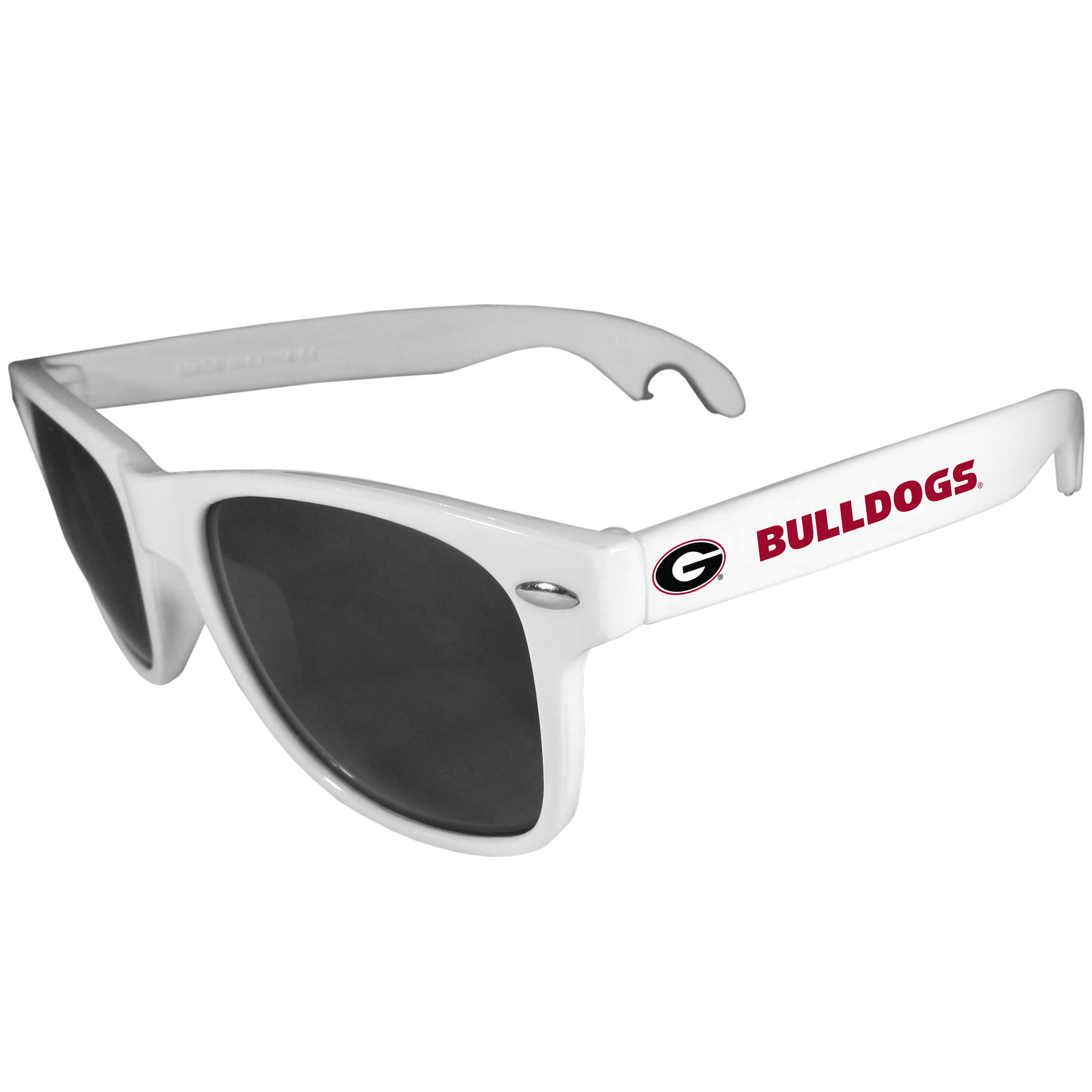 Georgia Bulldogs Beachfarer Bottle Opener Sunglasses, White - Seriously, these sunglasses open bottles! Keep the party going with these amazing Georgia Bulldogs bottle opener sunglasses. The stylish retro frames feature team designs on the arms and functional bottle openers on the end of the arms. Whether you are at the beach or having a backyard BBQ on game day, these shades will keep your eyes protected with 100% UVA/UVB protection and keep you hydrated with the handy bottle opener arms.