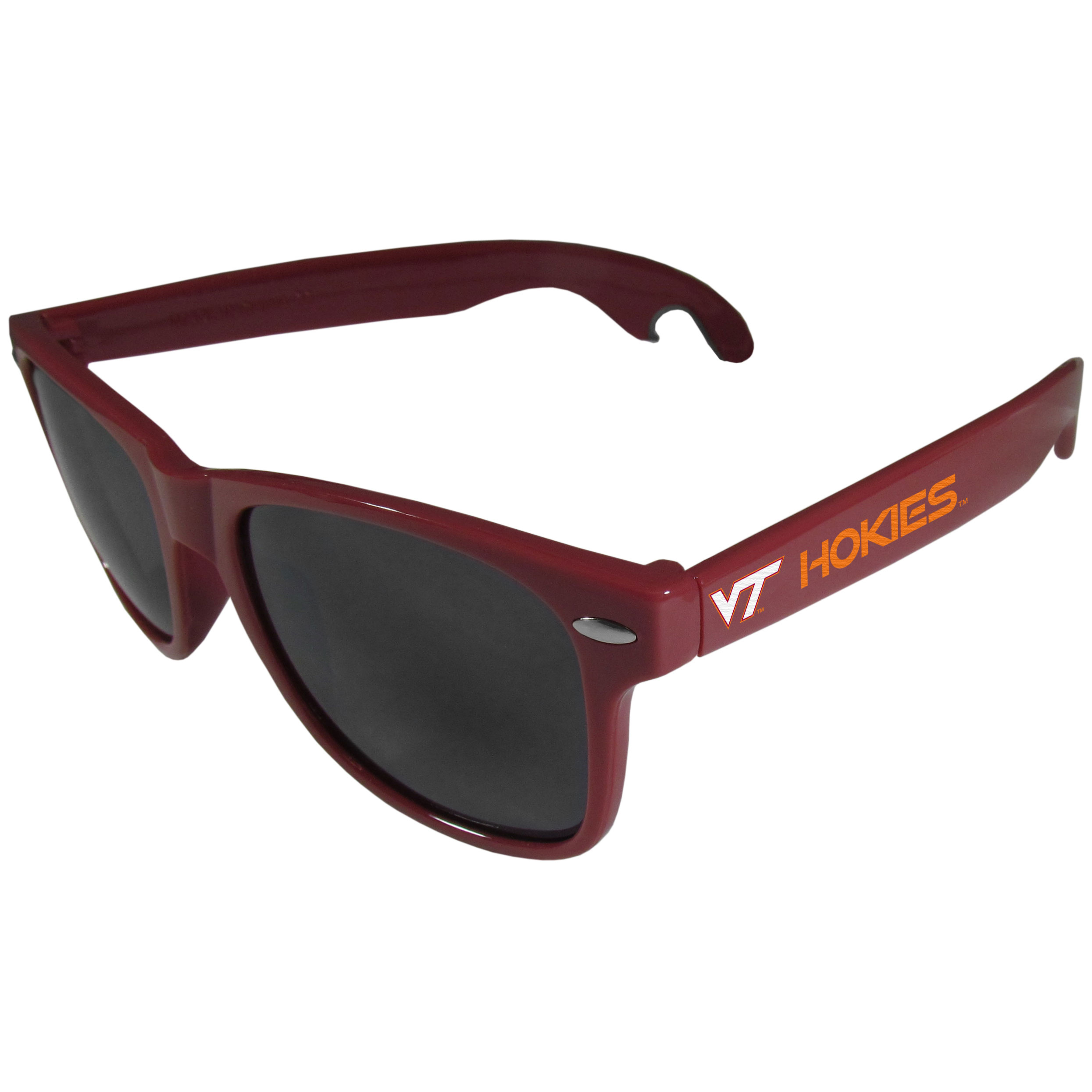 Virginia Tech Hokies Beachfarer Bottle Opener Sunglasses, Maroon - Seriously, these sunglasses open bottles! Keep the party going with these amazing Virginia Tech Hokies bottle opener sunglasses. The stylish retro frames feature team designs on the arms and functional bottle openers on the end of the arms. Whether you are at the beach or having a backyard BBQ on game day, these shades will keep your eyes protected with 100% UVA/UVB protection and keep you hydrated with the handy bottle opener arms.