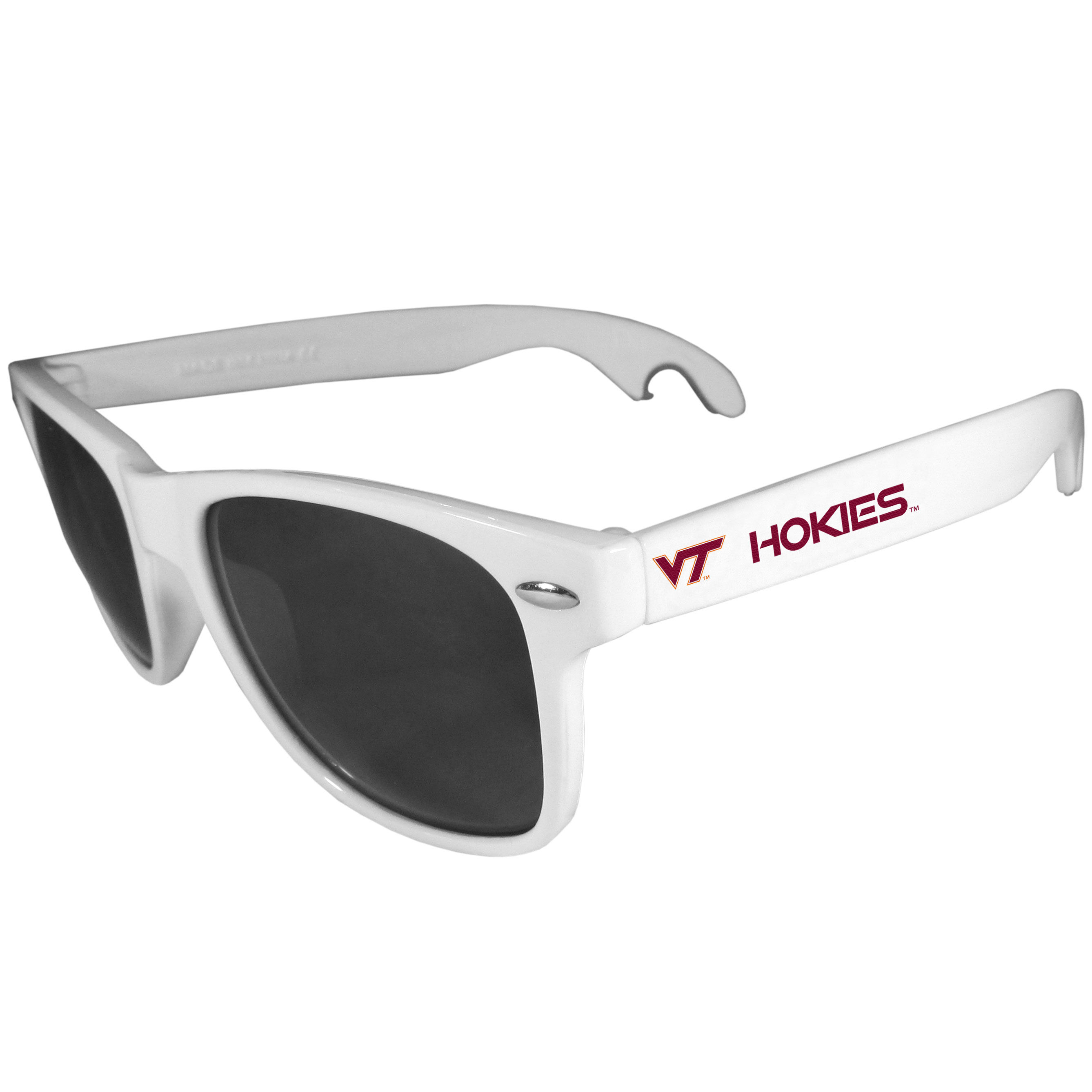 Virginia Tech Hokies Beachfarer Bottle Opener Sunglasses, White - Seriously, these sunglasses open bottles! Keep the party going with these amazing Virginia Tech Hokies bottle opener sunglasses. The stylish retro frames feature team designs on the arms and functional bottle openers on the end of the arms. Whether you are at the beach or having a backyard BBQ on game day, these shades will keep your eyes protected with 100% UVA/UVB protection and keep you hydrated with the handy bottle opener arms.