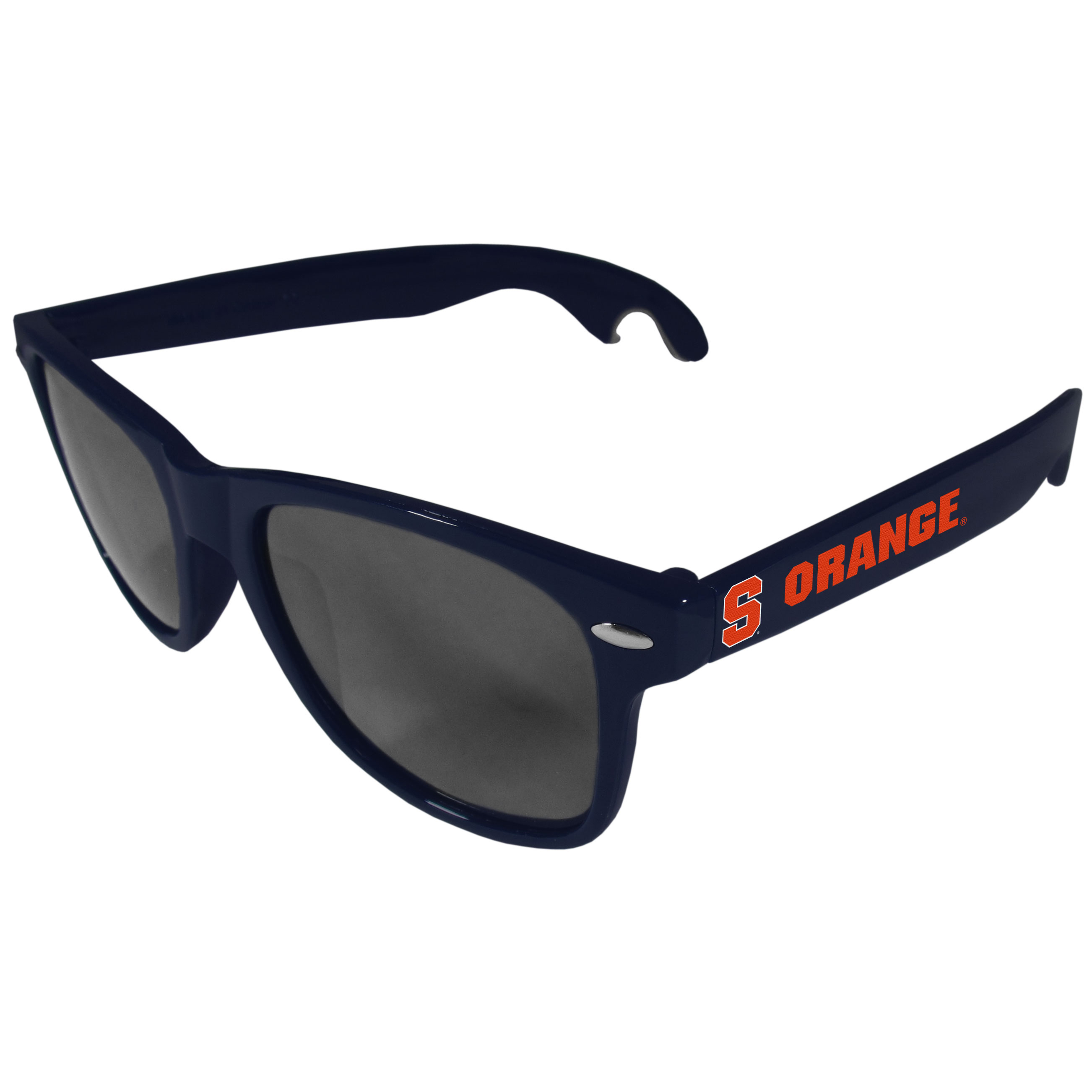 Syracuse Orange Beachfarer Bottle Opener Sunglasses, Dark Blue - Seriously, these sunglasses open bottles! Keep the party going with these amazing Syracuse Orange bottle opener sunglasses. The stylish retro frames feature team designs on the arms and functional bottle openers on the end of the arms. Whether you are at the beach or having a backyard BBQ on game day, these shades will keep your eyes protected with 100% UVA/UVB protection and keep you hydrated with the handy bottle opener arms.