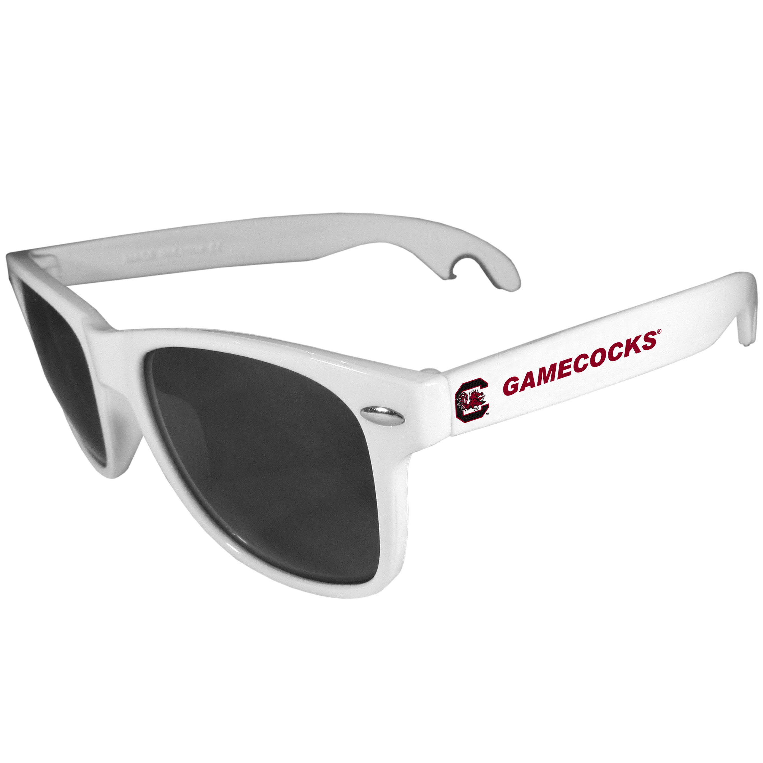S. Carolina Gamecocks Beachfarer Bottle Opener Sunglasses, White - Seriously, these sunglasses open bottles! Keep the party going with these amazing S. Carolina Gamecocks bottle opener sunglasses. The stylish retro frames feature team designs on the arms and functional bottle openers on the end of the arms. Whether you are at the beach or having a backyard BBQ on game day, these shades will keep your eyes protected with 100% UVA/UVB protection and keep you hydrated with the handy bottle opener arms.