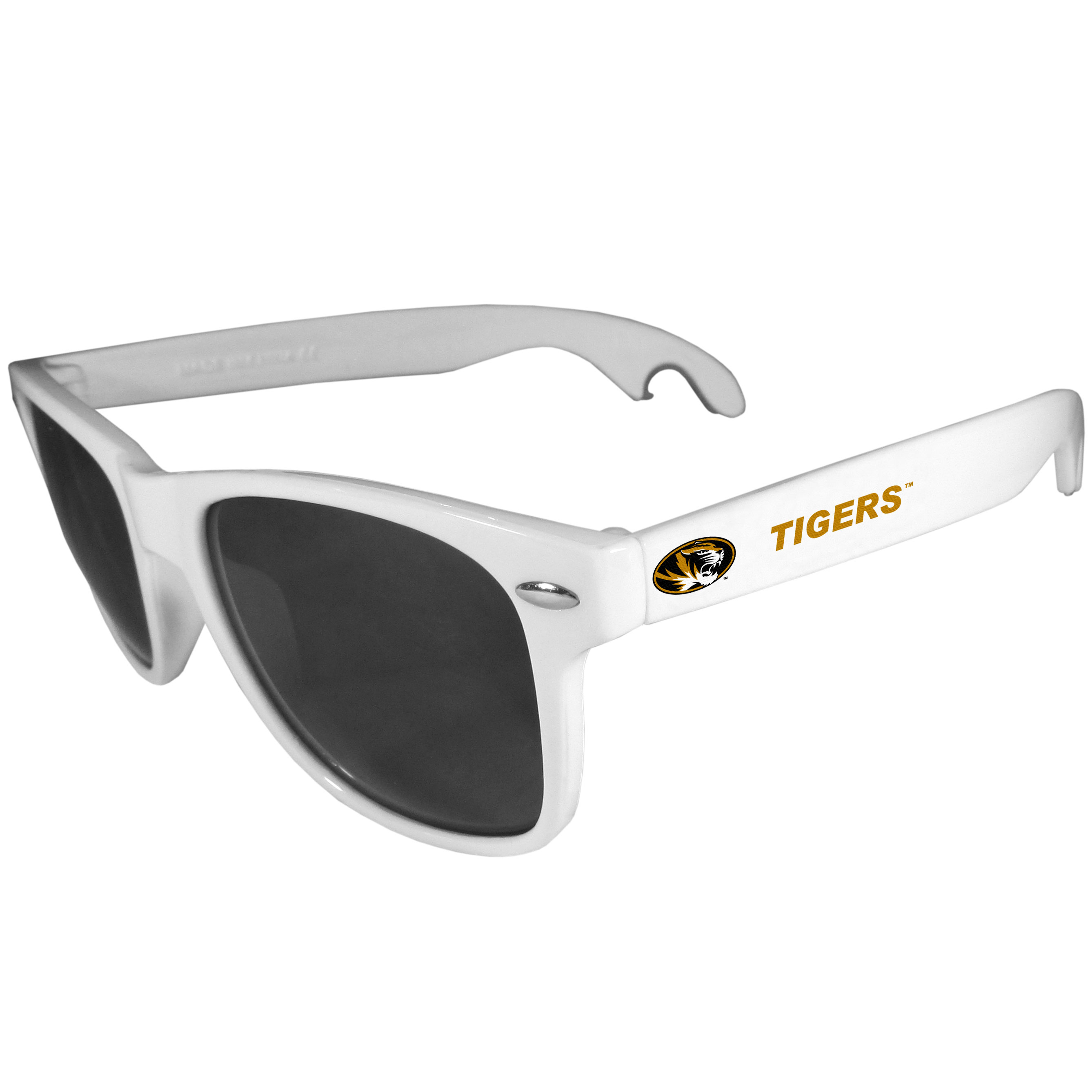 Missouri Tigers Beachfarer Bottle Opener Sunglasses, White - Seriously, these sunglasses open bottles! Keep the party going with these amazing Missouri Tigers bottle opener sunglasses. The stylish retro frames feature team designs on the arms and functional bottle openers on the end of the arms. Whether you are at the beach or having a backyard BBQ on game day, these shades will keep your eyes protected with 100% UVA/UVB protection and keep you hydrated with the handy bottle opener arms.