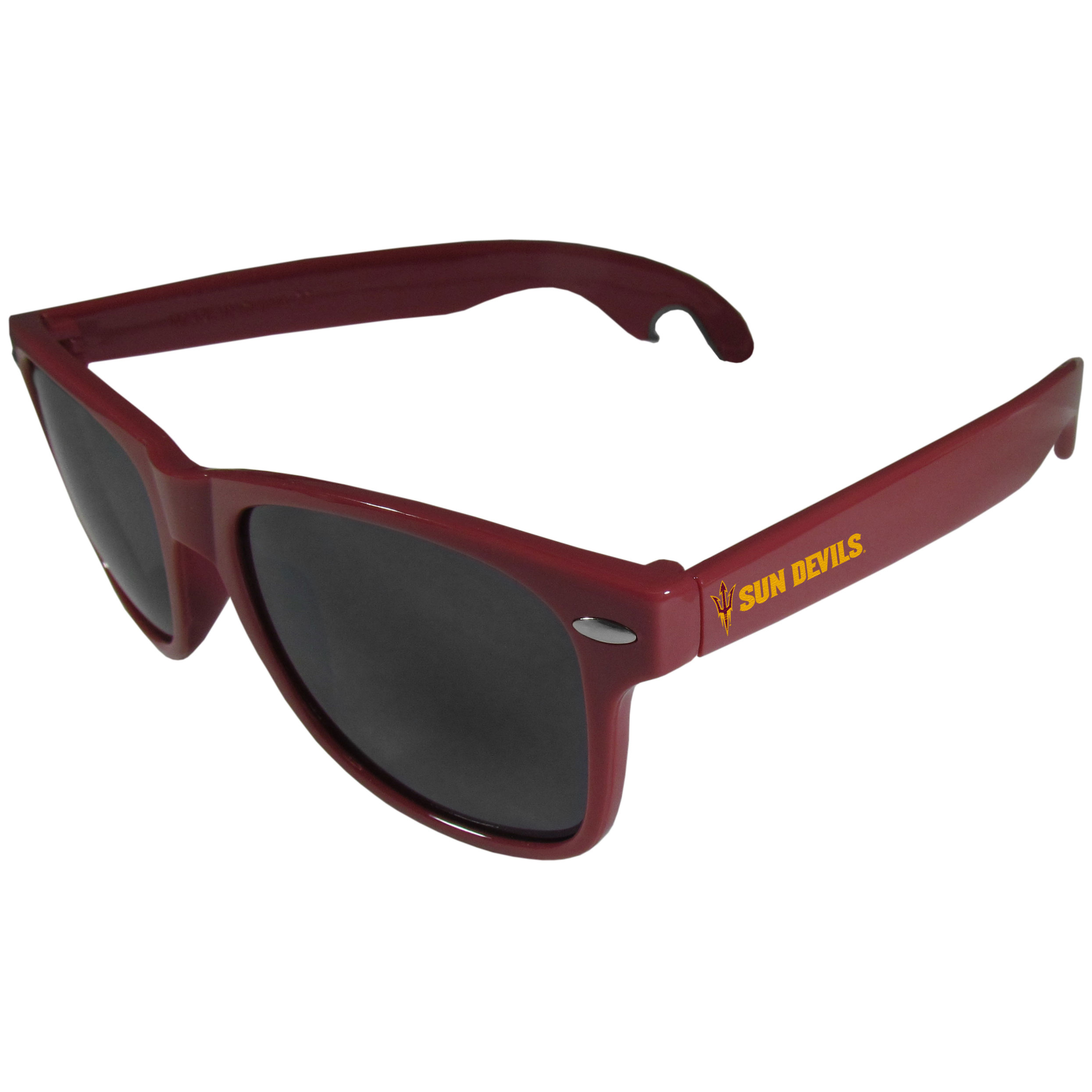 Arizona St. Sun Devils Beachfarer Bottle Opener Sunglasses, Maroon - Seriously, these sunglasses open bottles! Keep the party going with these amazing Arizona St. Sun Devils bottle opener sunglasses. The stylish retro frames feature team designs on the arms and functional bottle openers on the end of the arms. Whether you are at the beach or having a backyard BBQ on game day, these shades will keep your eyes protected with 100% UVA/UVB protection and keep you hydrated with the handy bottle opener arms.