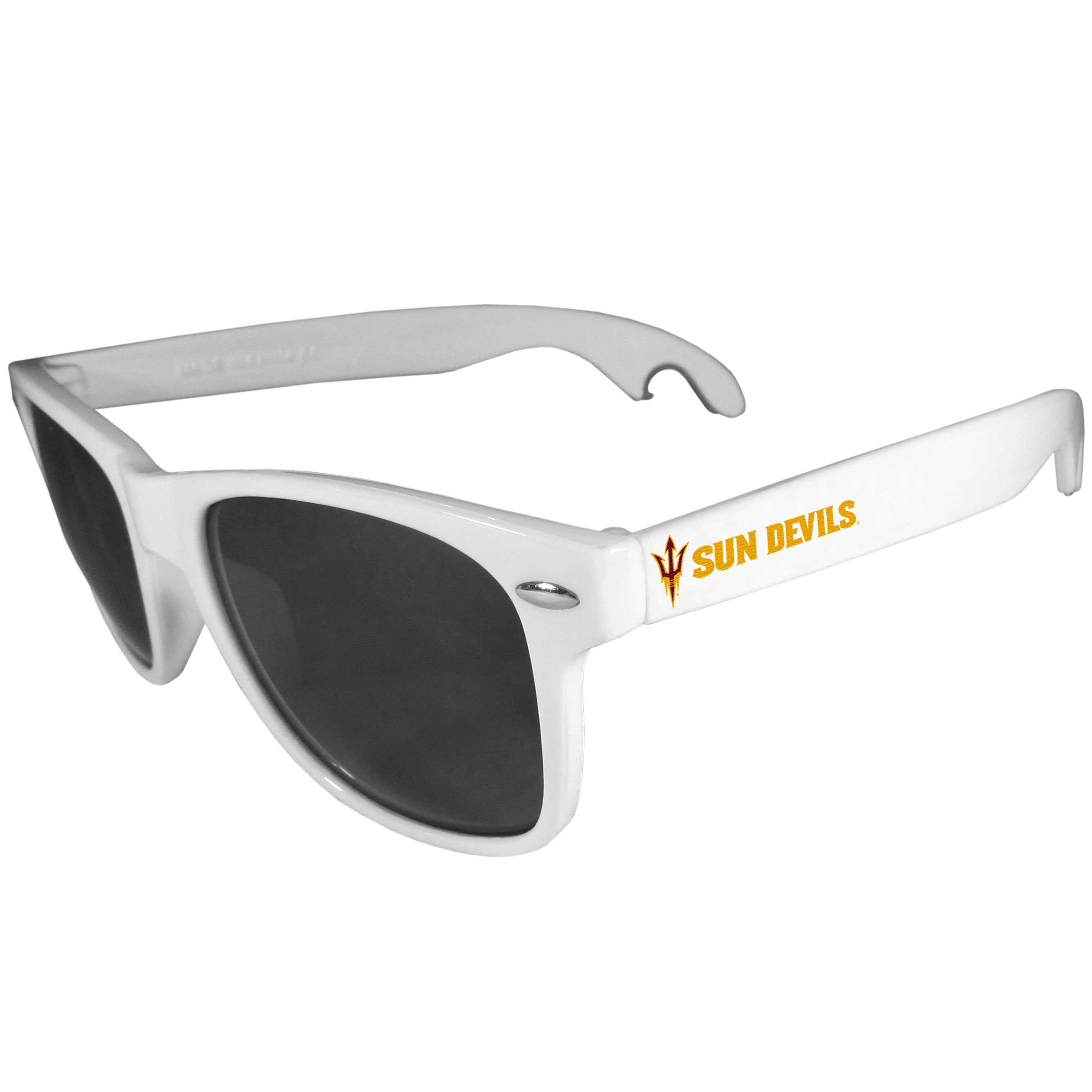 Arizona St. Sun Devils Beachfarer Bottle Opener Sunglasses, White - Seriously, these sunglasses open bottles! Keep the party going with these amazing Arizona St. Sun Devils bottle opener sunglasses. The stylish retro frames feature team designs on the arms and functional bottle openers on the end of the arms. Whether you are at the beach or having a backyard BBQ on game day, these shades will keep your eyes protected with 100% UVA/UVB protection and keep you hydrated with the handy bottle opener arms.