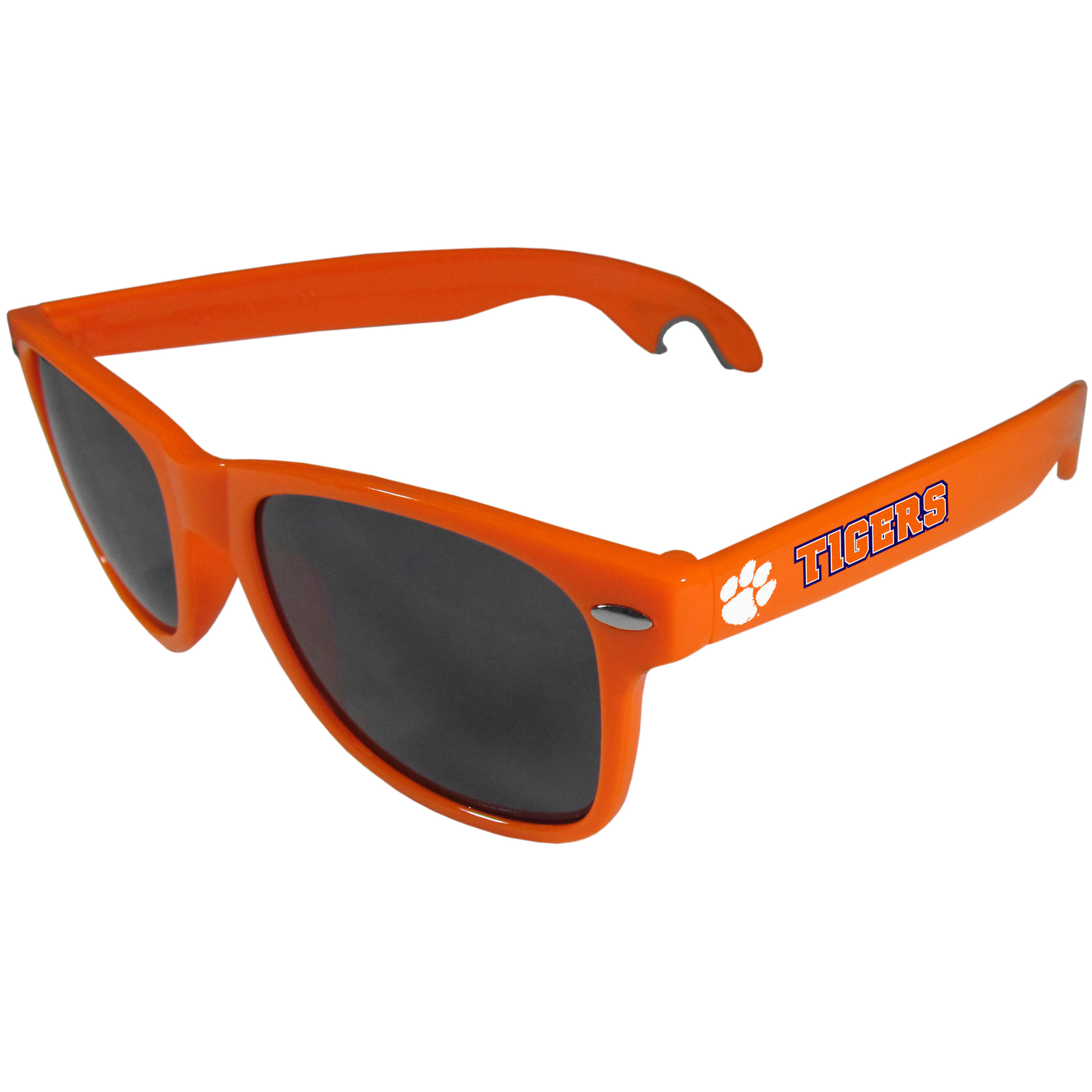 Clemson Tigers Beachfarer Bottle Opener Sunglasses, Orange - Seriously, these sunglasses open bottles! Keep the party going with these amazing Clemson Tigers bottle opener sunglasses. The stylish retro frames feature team designs on the arms and functional bottle openers on the end of the arms. Whether you are at the beach or having a backyard BBQ on game day, these shades will keep your eyes protected with 100% UVA/UVB protection and keep you hydrated with the handy bottle opener arms.