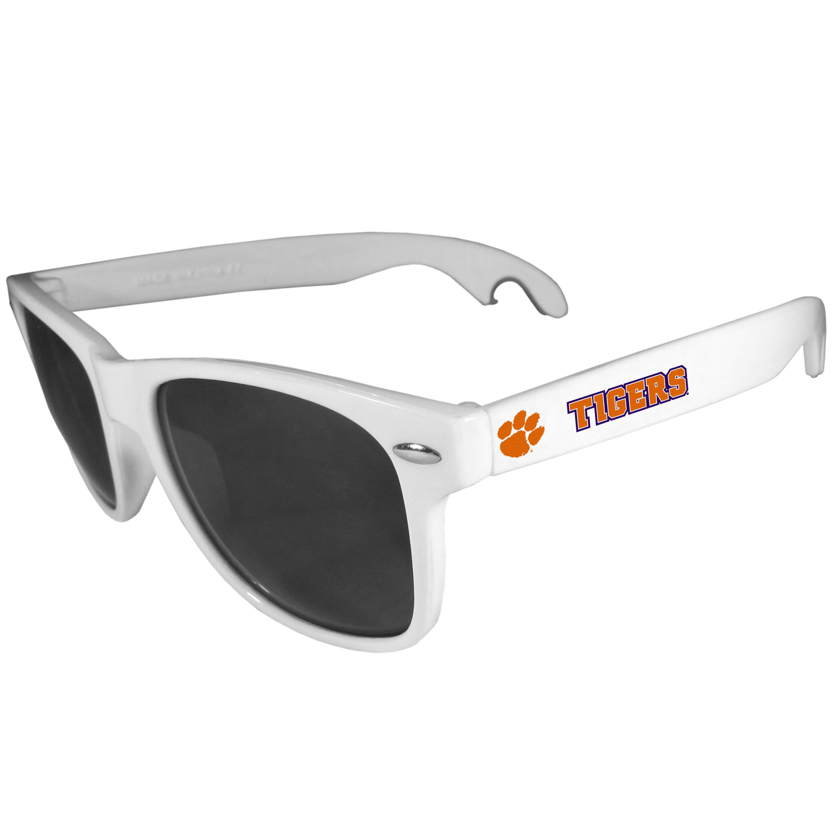 Clemson Tigers Beachfarer Bottle Opener Sunglasses, White - Seriously, these sunglasses open bottles! Keep the party going with these amazing Clemson Tigers bottle opener sunglasses. The stylish retro frames feature team designs on the arms and functional bottle openers on the end of the arms. Whether you are at the beach or having a backyard BBQ on game day, these shades will keep your eyes protected with 100% UVA/UVB protection and keep you hydrated with the handy bottle opener arms.