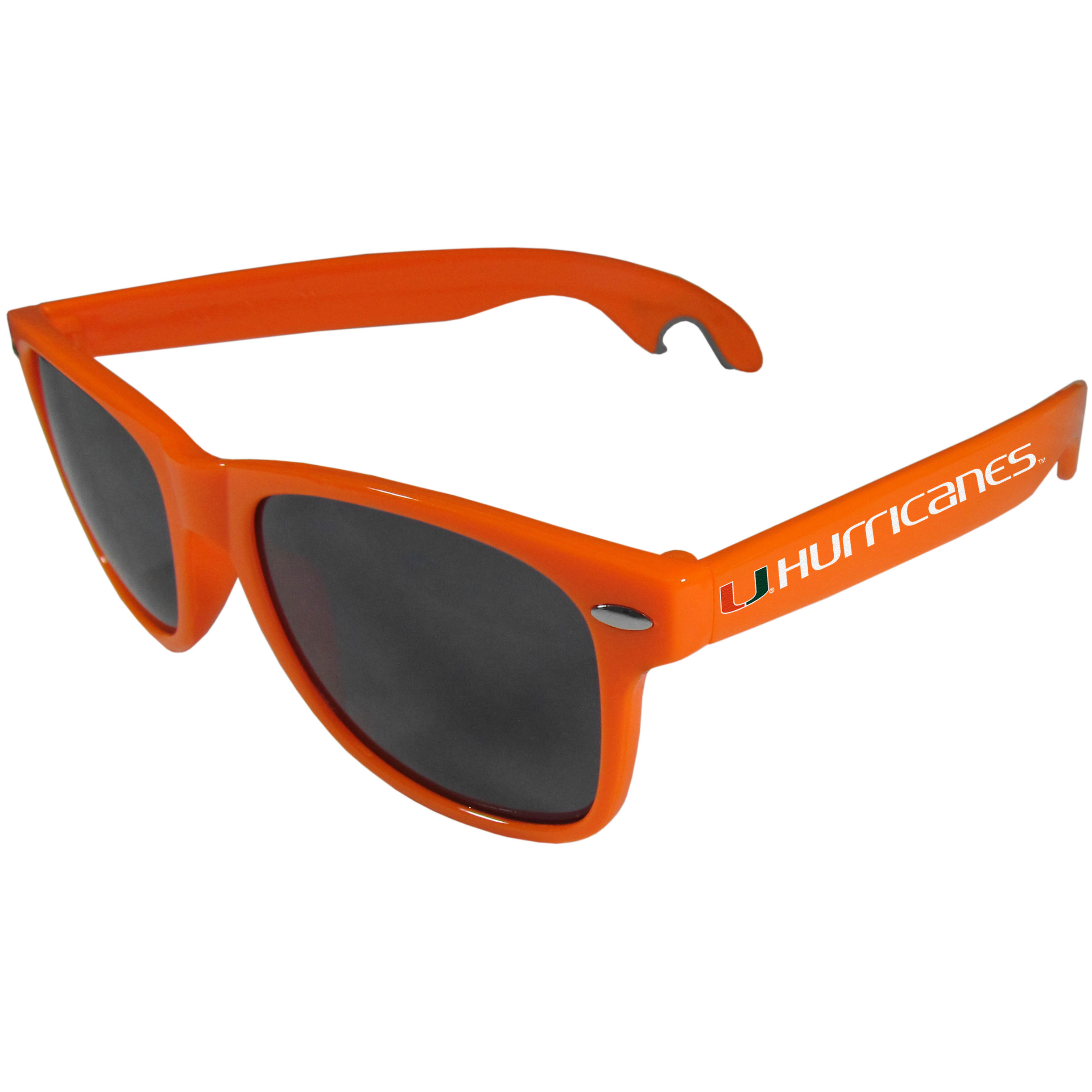 Miami Hurricanes Beachfarer Bottle Opener Sunglasses, Orange - Seriously, these sunglasses open bottles! Keep the party going with these amazing Miami Hurricanes bottle opener sunglasses. The stylish retro frames feature team designs on the arms and functional bottle openers on the end of the arms. Whether you are at the beach or having a backyard BBQ on game day, these shades will keep your eyes protected with 100% UVA/UVB protection and keep you hydrated with the handy bottle opener arms.