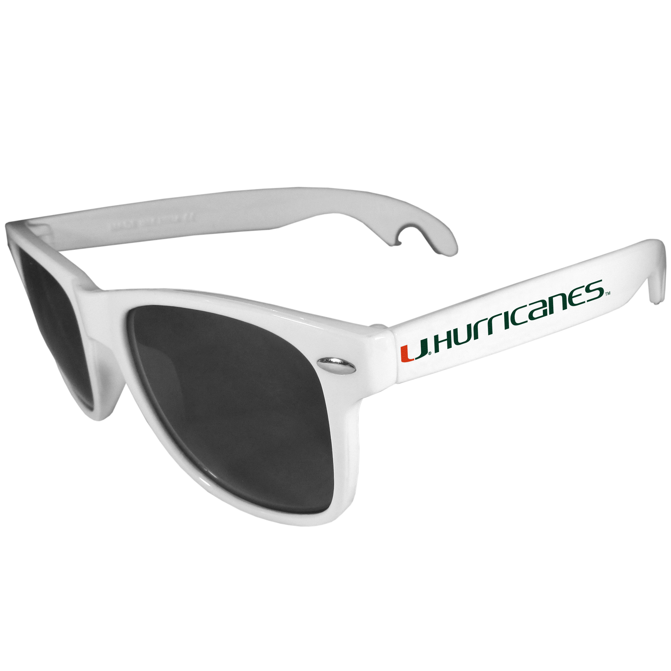 Miami Hurricanes Beachfarer Bottle Opener Sunglasses, White - Seriously, these sunglasses open bottles! Keep the party going with these amazing Miami Hurricanes bottle opener sunglasses. The stylish retro frames feature team designs on the arms and functional bottle openers on the end of the arms. Whether you are at the beach or having a backyard BBQ on game day, these shades will keep your eyes protected with 100% UVA/UVB protection and keep you hydrated with the handy bottle opener arms.