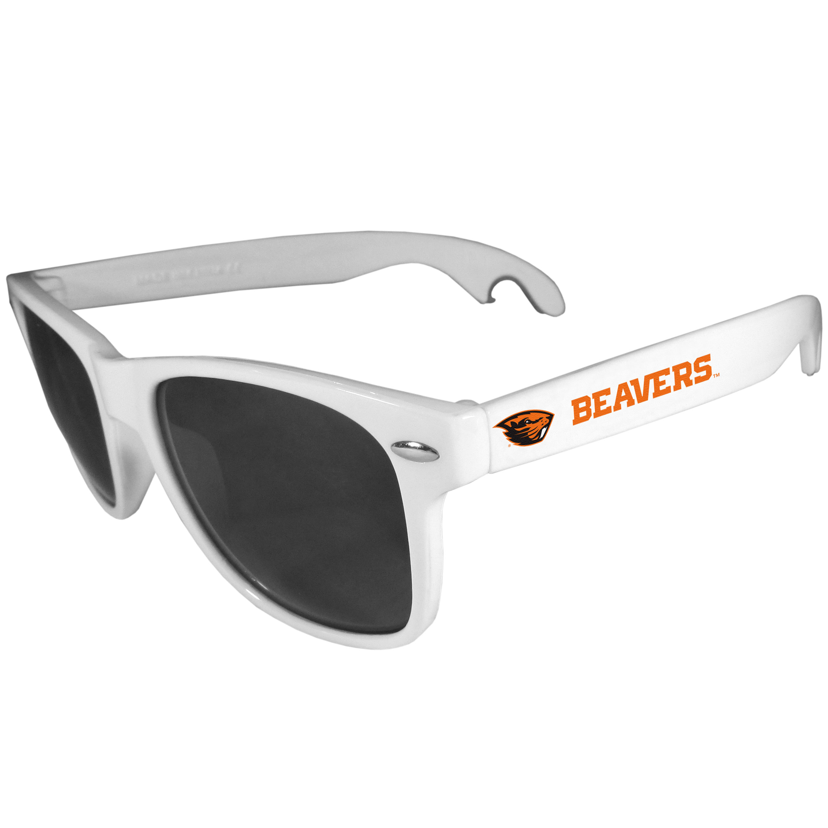 Oregon St. Beavers Beachfarer Bottle Opener Sunglasses, White - Seriously, these sunglasses open bottles! Keep the party going with these amazing Oregon St. Beavers bottle opener sunglasses. The stylish retro frames feature team designs on the arms and functional bottle openers on the end of the arms. Whether you are at the beach or having a backyard BBQ on game day, these shades will keep your eyes protected with 100% UVA/UVB protection and keep you hydrated with the handy bottle opener arms.