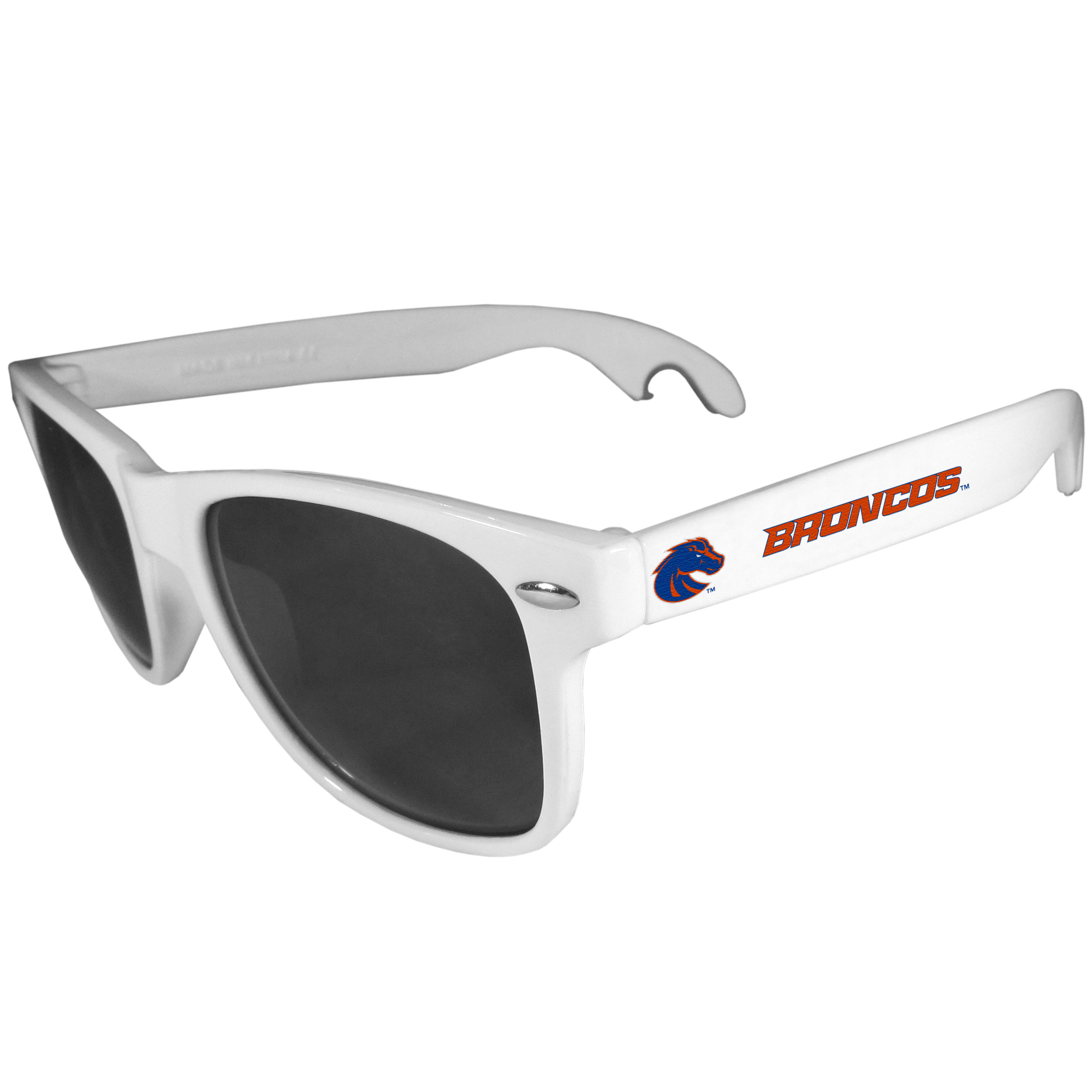 Boise St. Broncos Beachfarer Bottle Opener Sunglasses, White - Seriously, these sunglasses open bottles! Keep the party going with these amazing Boise St. Broncos bottle opener sunglasses. The stylish retro frames feature team designs on the arms and functional bottle openers on the end of the arms. Whether you are at the beach or having a backyard BBQ on game day, these shades will keep your eyes protected with 100% UVA/UVB protection and keep you hydrated with the handy bottle opener arms.