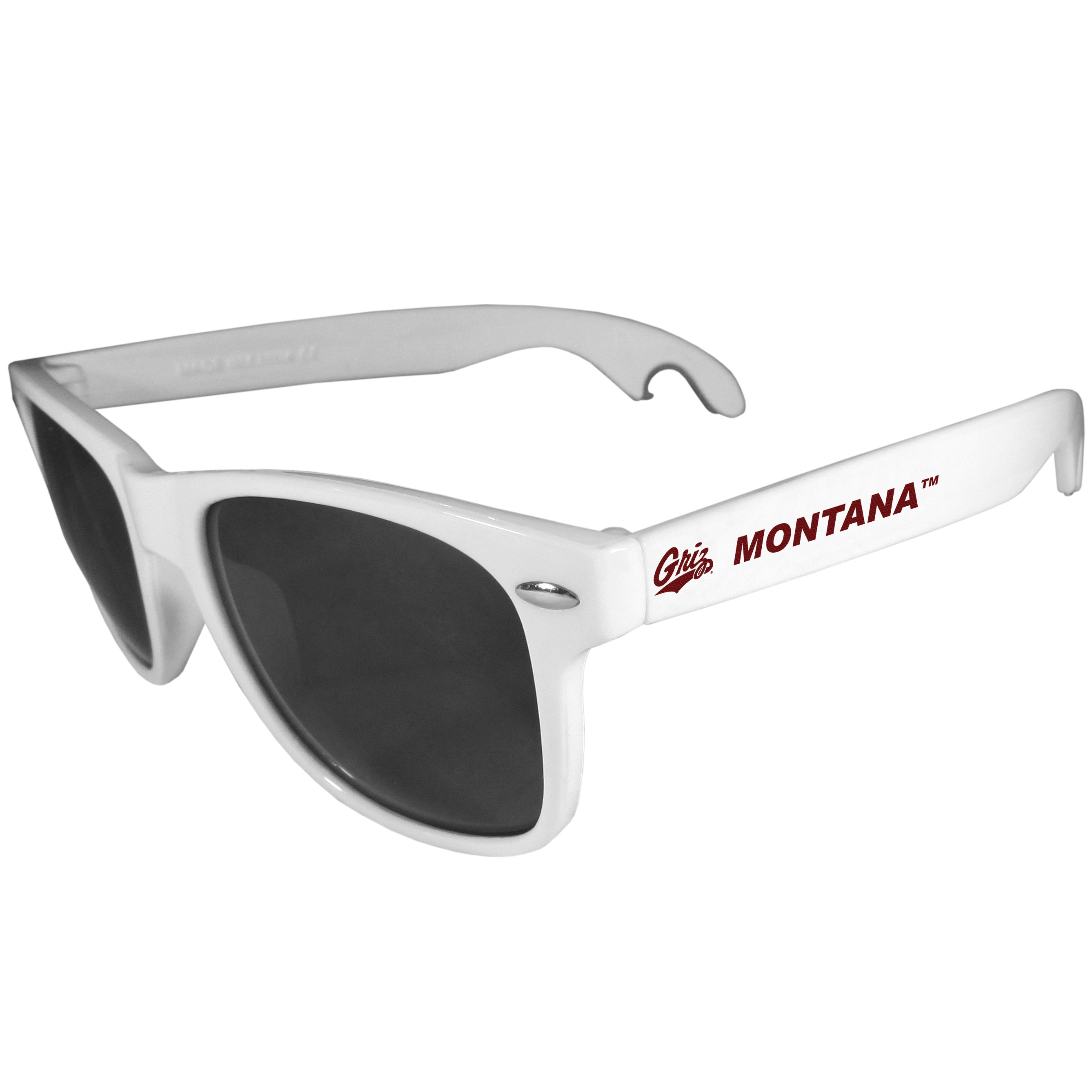 Montana Grizzlies Beachfarer Bottle Opener Sunglasses, White - Seriously, these sunglasses open bottles! Keep the party going with these amazing Montana Grizzlies bottle opener sunglasses. The stylish retro frames feature team designs on the arms and functional bottle openers on the end of the arms. Whether you are at the beach or having a backyard BBQ on game day, these shades will keep your eyes protected with 100% UVA/UVB protection and keep you hydrated with the handy bottle opener arms.