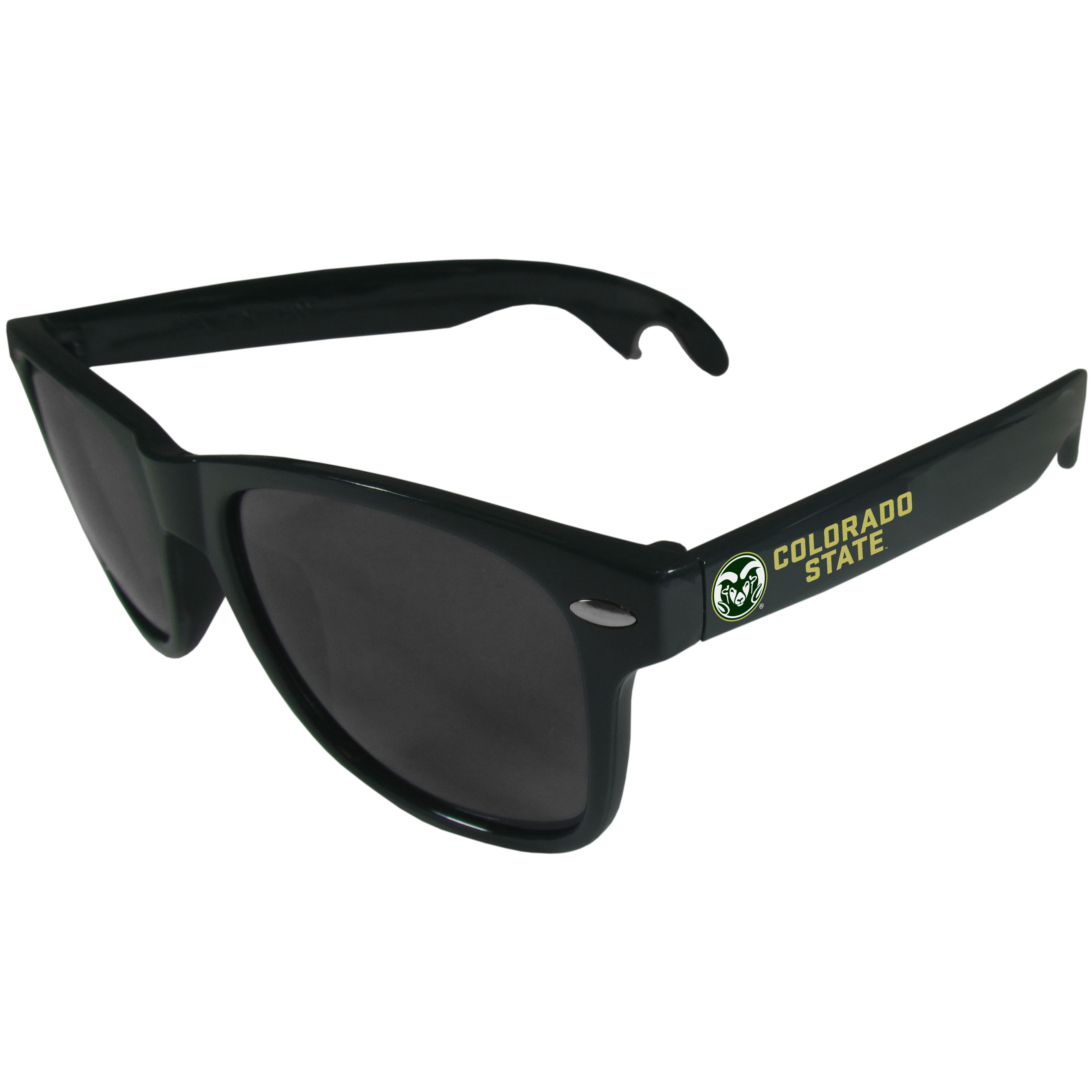 Colorado St. Rams Beachfarer Bottle Opener Sunglasses, Dark Green - Seriously, these sunglasses open bottles! Keep the party going with these amazing Colorado St. Rams bottle opener sunglasses. The stylish retro frames feature team designs on the arms and functional bottle openers on the end of the arms. Whether you are at the beach or having a backyard BBQ on game day, these shades will keep your eyes protected with 100% UVA/UVB protection and keep you hydrated with the handy bottle opener arms.
