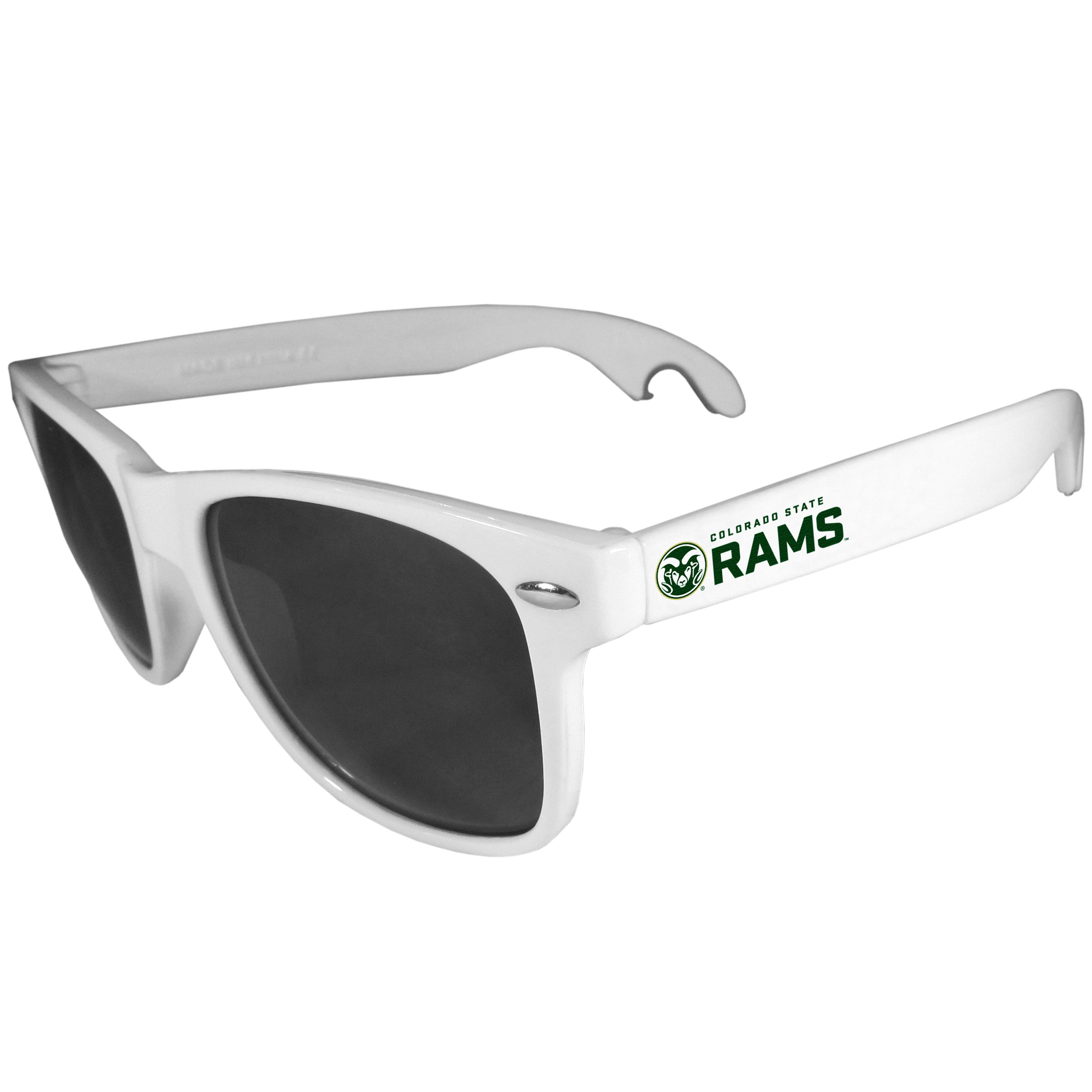 Colorado St. Rams Beachfarer Bottle Opener Sunglasses, White - Seriously, these sunglasses open bottles! Keep the party going with these amazing Colorado St. Rams bottle opener sunglasses. The stylish retro frames feature team designs on the arms and functional bottle openers on the end of the arms. Whether you are at the beach or having a backyard BBQ on game day, these shades will keep your eyes protected with 100% UVA/UVB protection and keep you hydrated with the handy bottle opener arms.