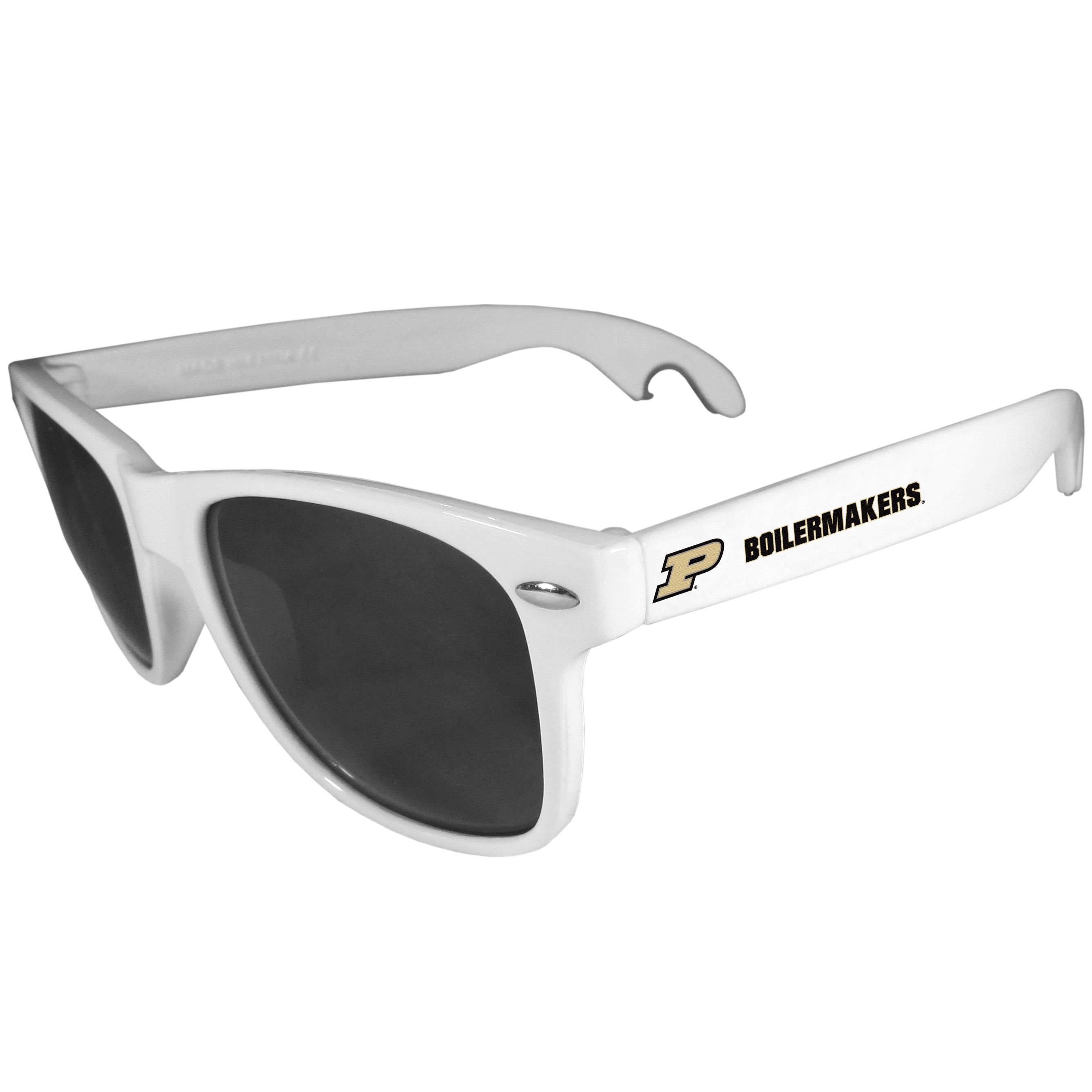 Purdue Boilermakers Beachfarer Bottle Opener Sunglasses, White - Seriously, these sunglasses open bottles! Keep the party going with these amazing Purdue Boilermakers bottle opener sunglasses. The stylish retro frames feature team designs on the arms and functional bottle openers on the end of the arms. Whether you are at the beach or having a backyard BBQ on game day, these shades will keep your eyes protected with 100% UVA/UVB protection and keep you hydrated with the handy bottle opener arms.