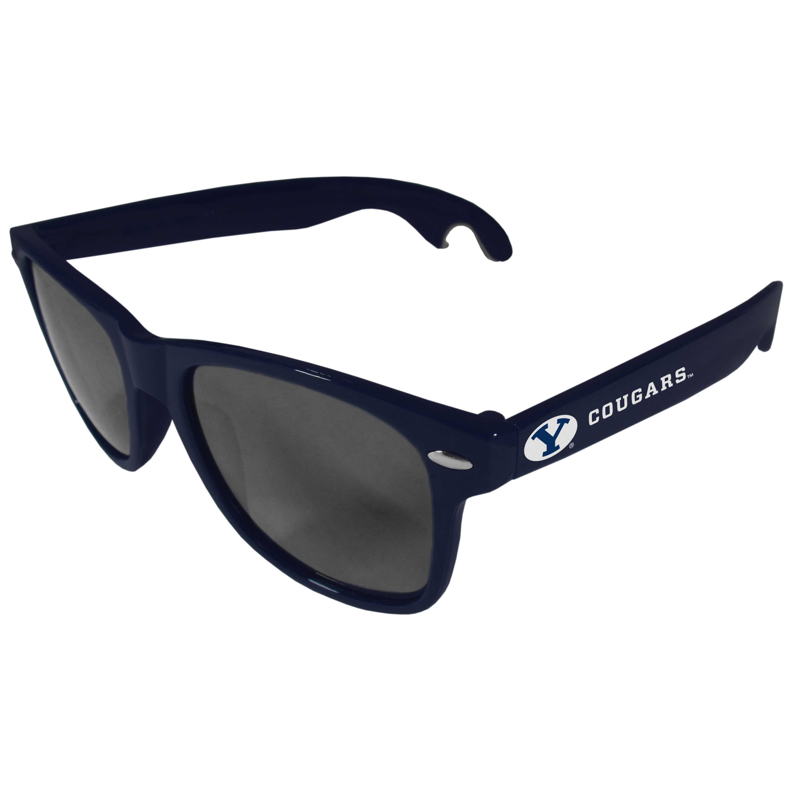 BYU Cougars Beachfarer Bottle Opener Sunglasses, Dark Blue - Seriously, these sunglasses open bottles! Keep the party going with these amazing BYU Cougars bottle opener sunglasses. The stylish retro frames feature team designs on the arms and functional bottle openers on the end of the arms. Whether you are at the beach or having a backyard BBQ on game day, these shades will keep your eyes protected with 100% UVA/UVB protection and keep you hydrated with the handy bottle opener arms.