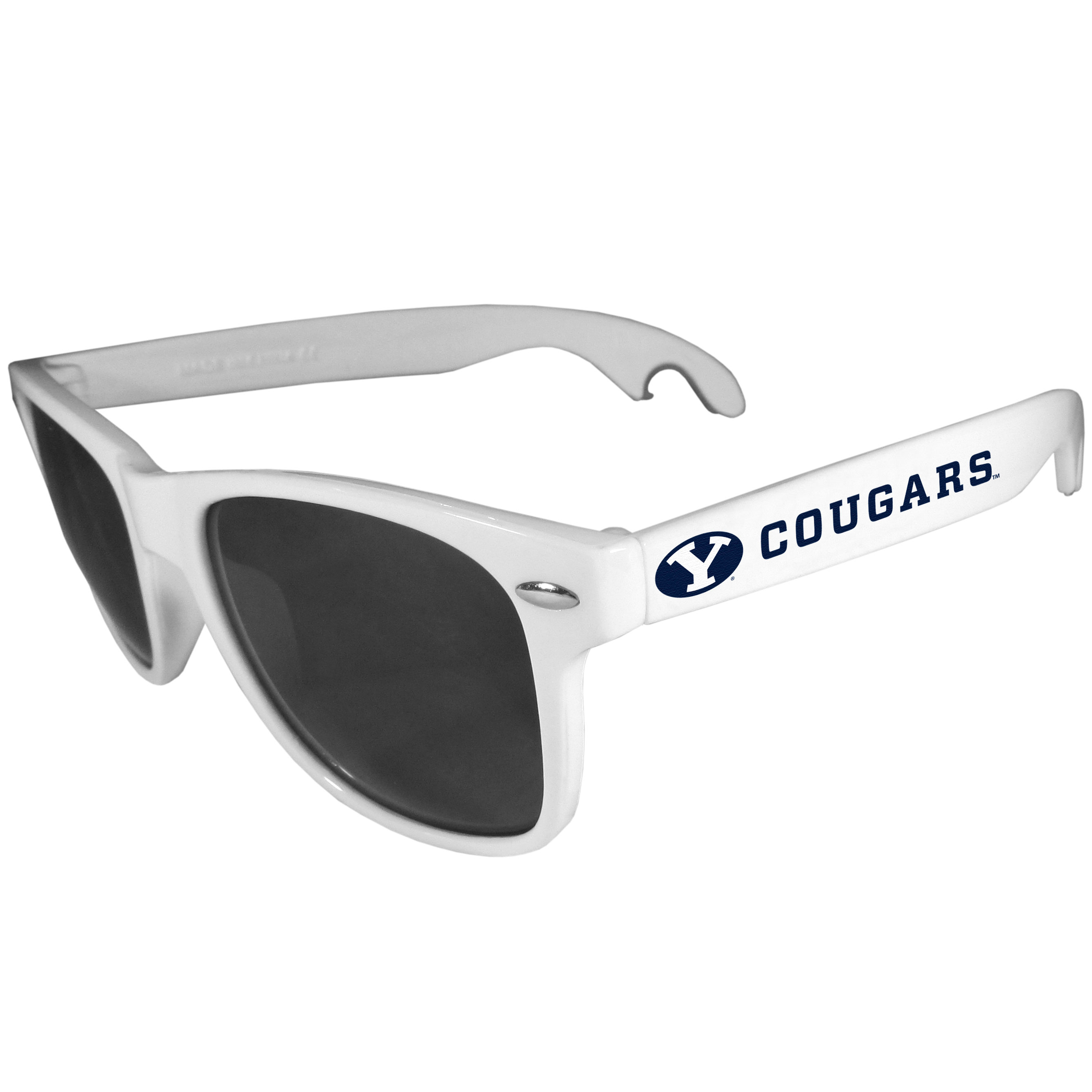 BYU Cougars Beachfarer Bottle Opener Sunglasses, White - Seriously, these sunglasses open bottles! Keep the party going with these amazing BYU Cougars bottle opener sunglasses. The stylish retro frames feature team designs on the arms and functional bottle openers on the end of the arms. Whether you are at the beach or having a backyard BBQ on game day, these shades will keep your eyes protected with 100% UVA/UVB protection and keep you hydrated with the handy bottle opener arms.